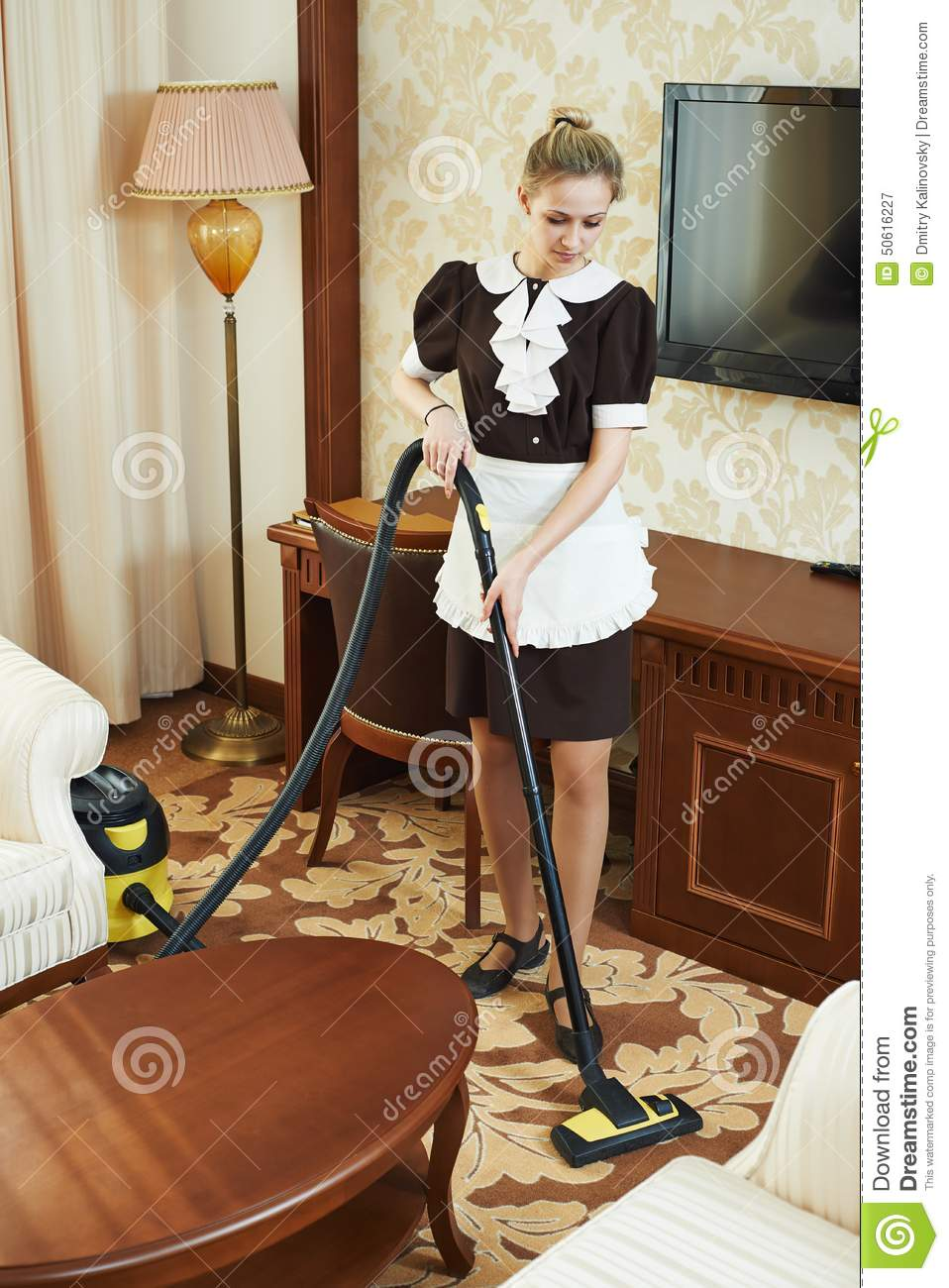 Chambermaid At Hotel Service Stock Image Image Of