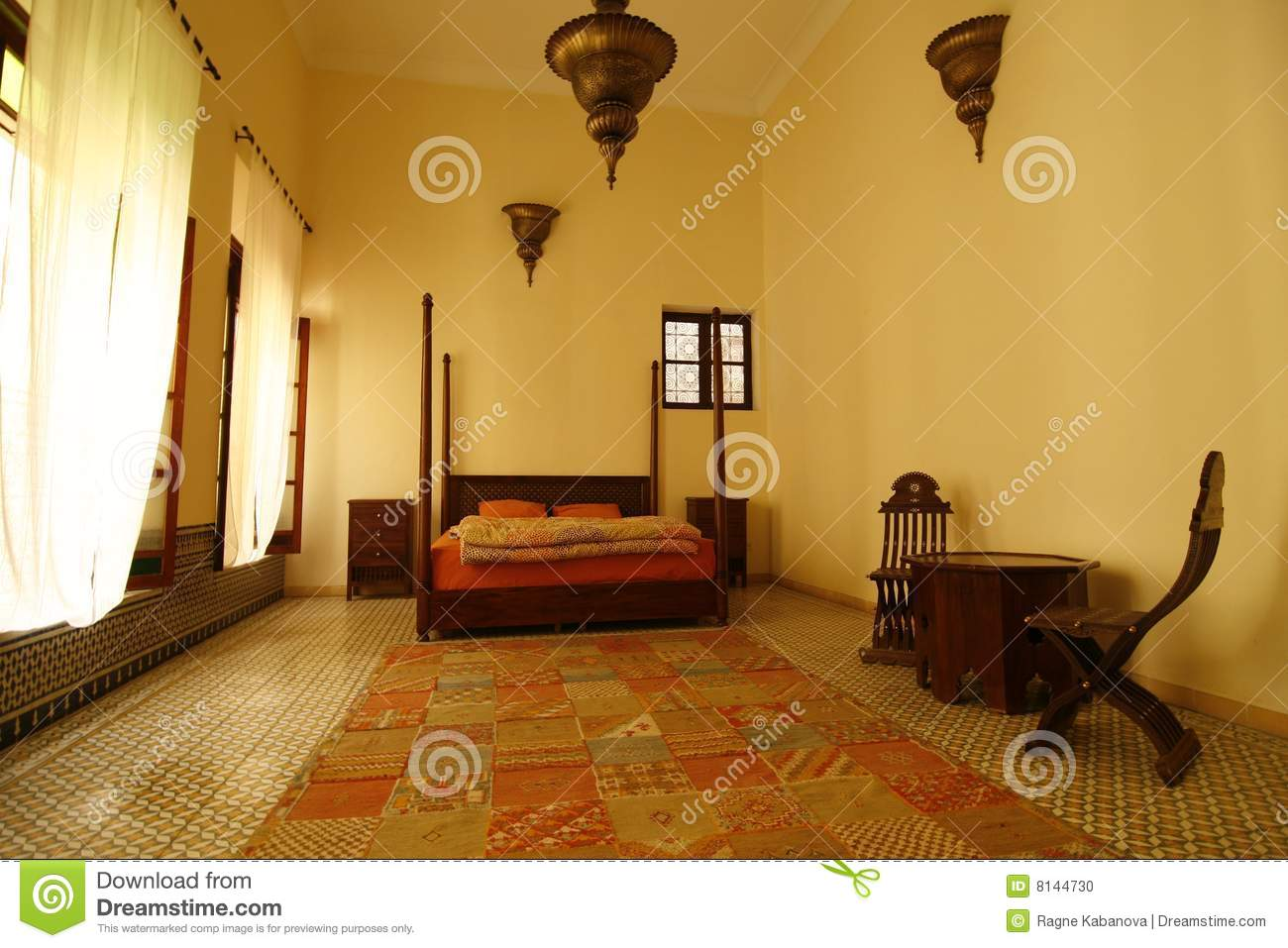 chambre coucher arabe maroc photo stock image 8144730. Black Bedroom Furniture Sets. Home Design Ideas