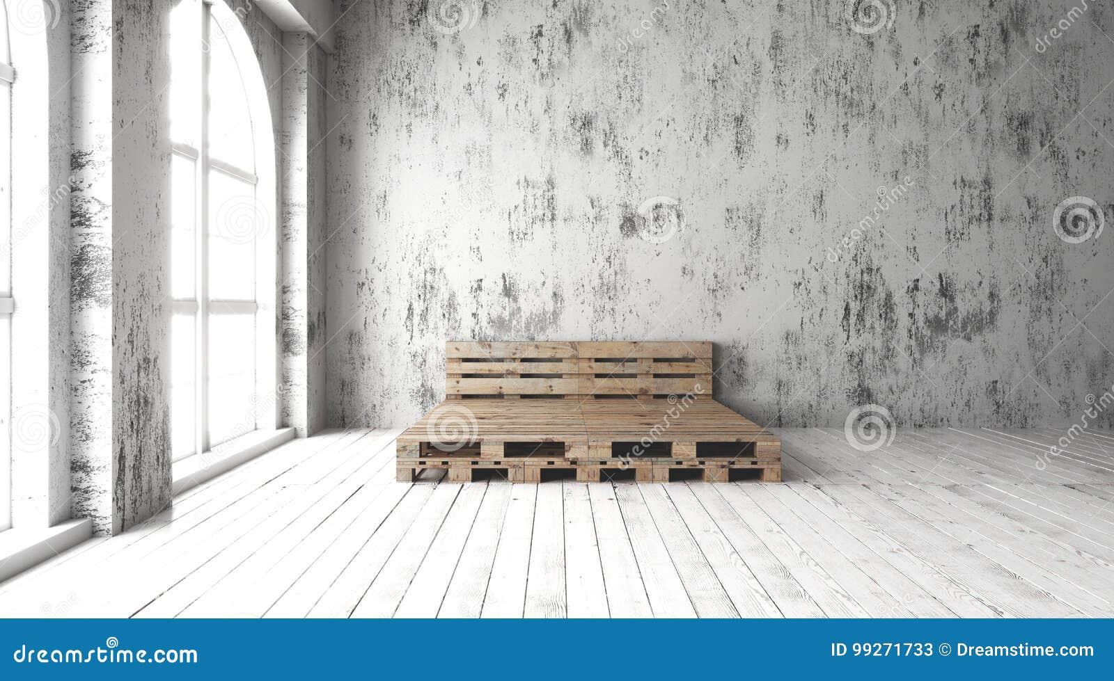 Chambre à Coucher Avec Des Conceptions Réutilisées De Cadre De Lit