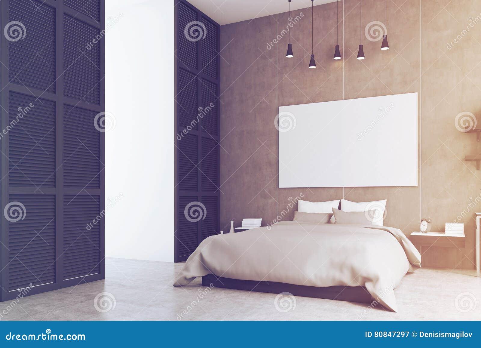 Chambre à Coucher Avec L\'affiche Et Une Fenêtre Dans Un Mur Noir ...