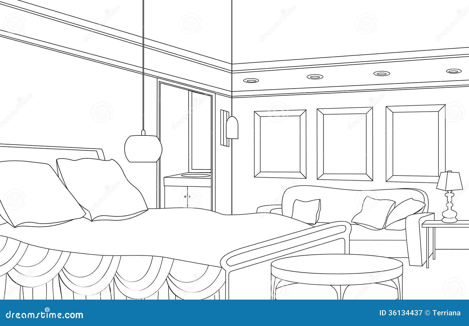 Chambre coucher avec la chemin e meubles editable de - Croquis chambre a coucher ...