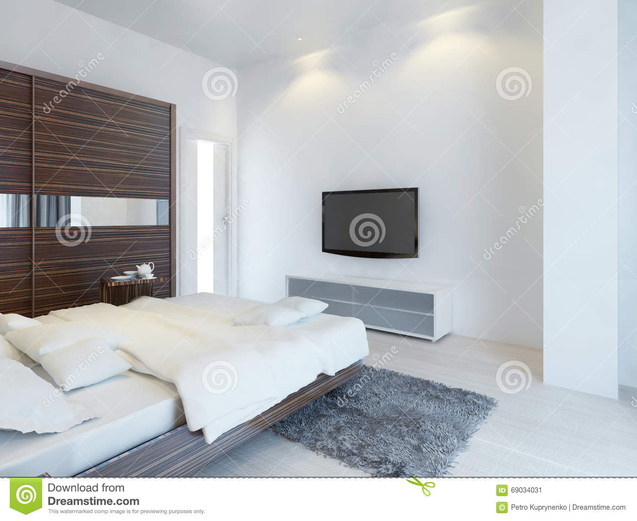 chambre coucher avec la tv et une console de media illustration stock image 69034031. Black Bedroom Furniture Sets. Home Design Ideas