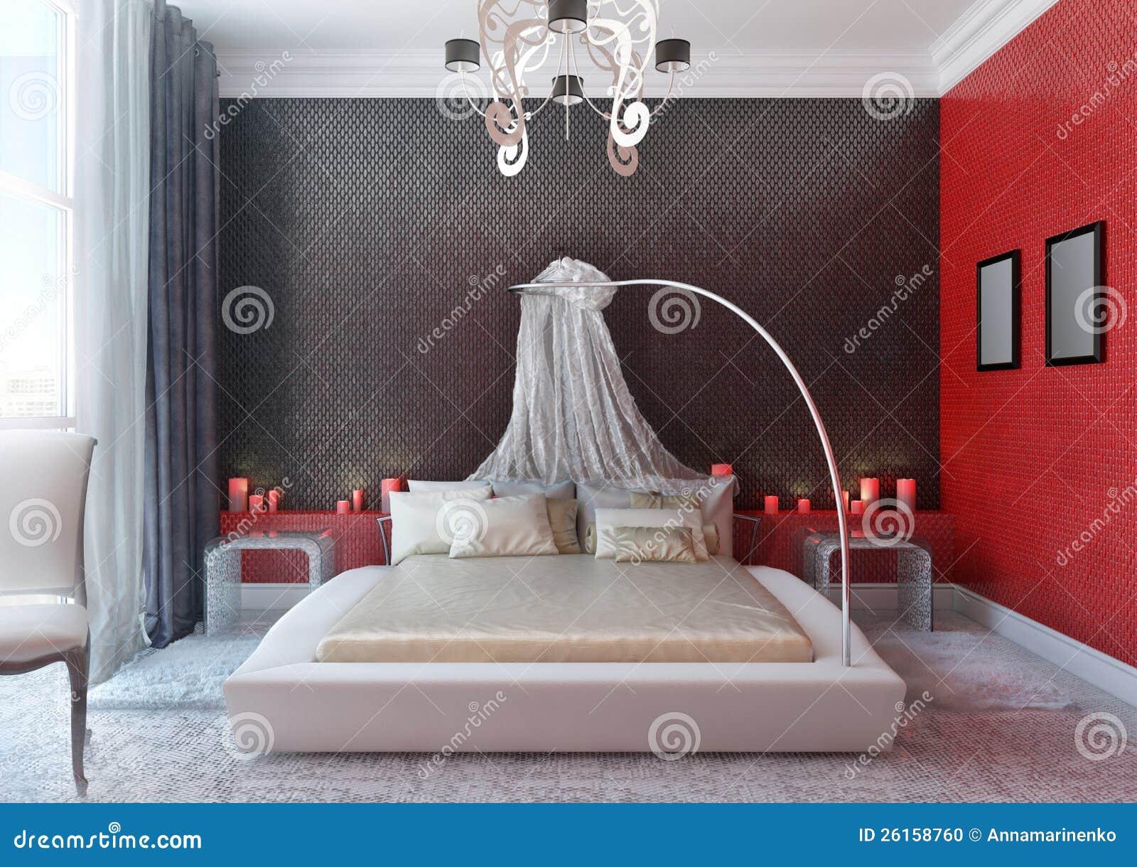 Chambre A Coucher Avec Le Baldaquin Photo Stock Image Du Oreiller