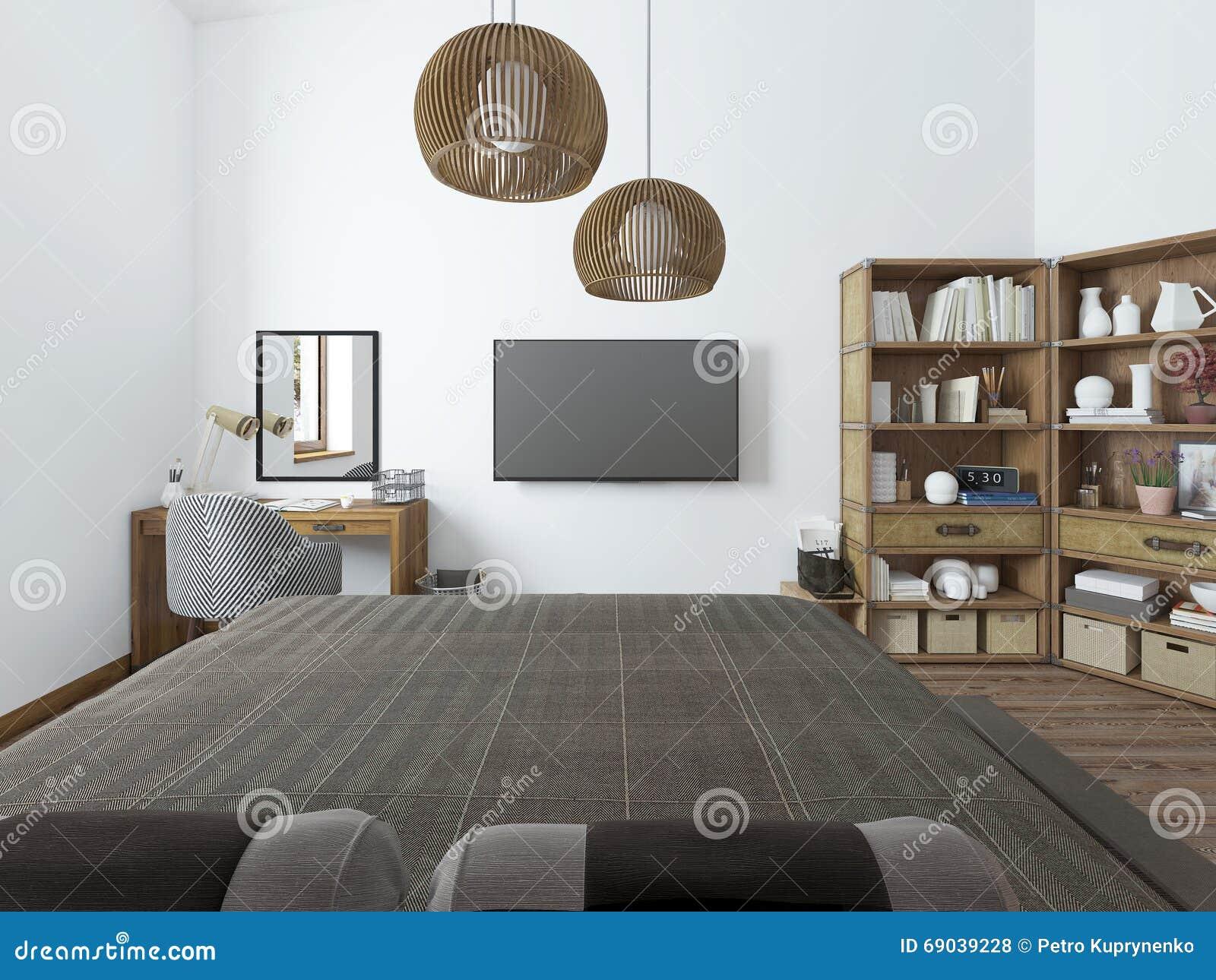 Chambre à coucher avec le bureau de tv et étagères pour des livres