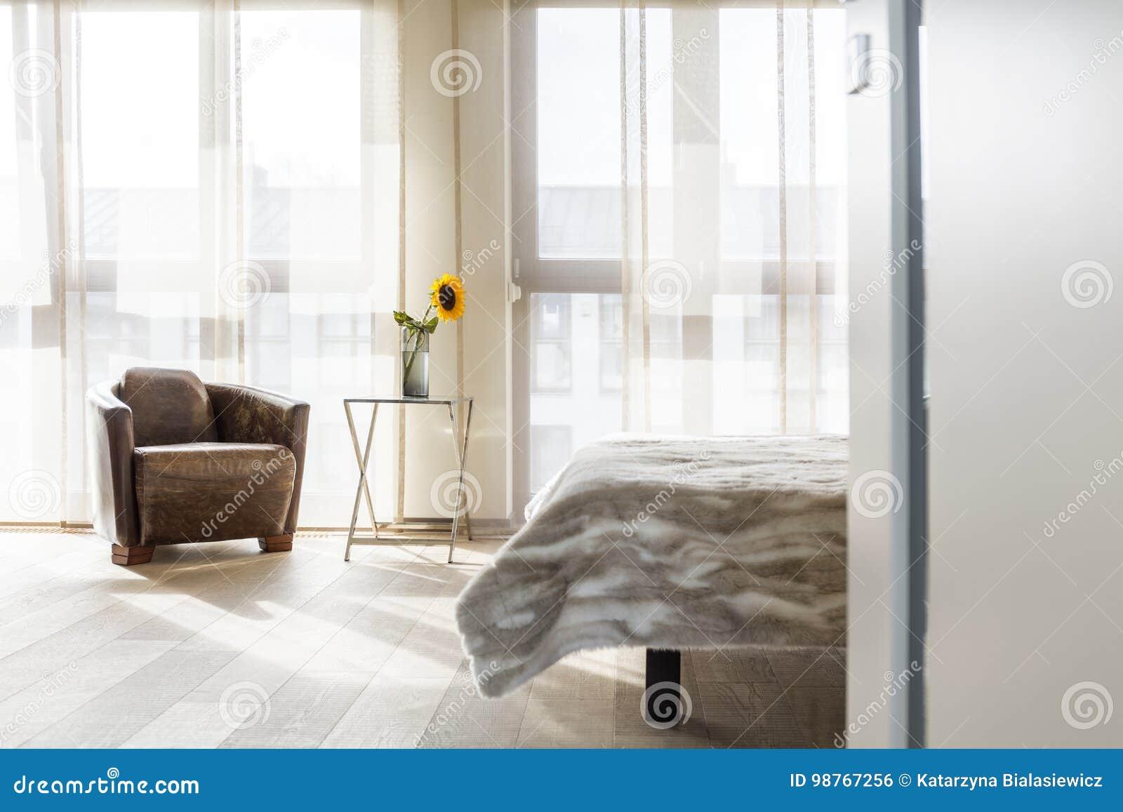 Chambre à Coucher Avec Le Fauteuil En Cuir Photo stock - Image du ...