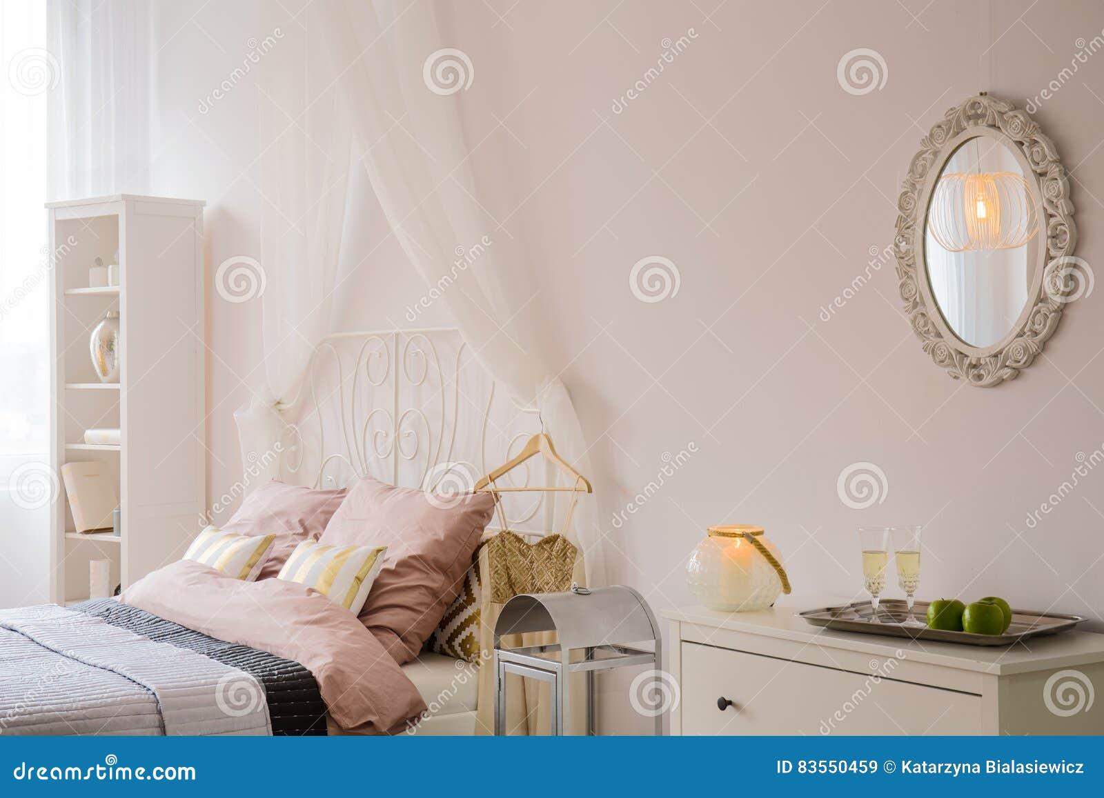 Chambre à Coucher Avec Le Miroir Et La Raboteuse Image stock ...
