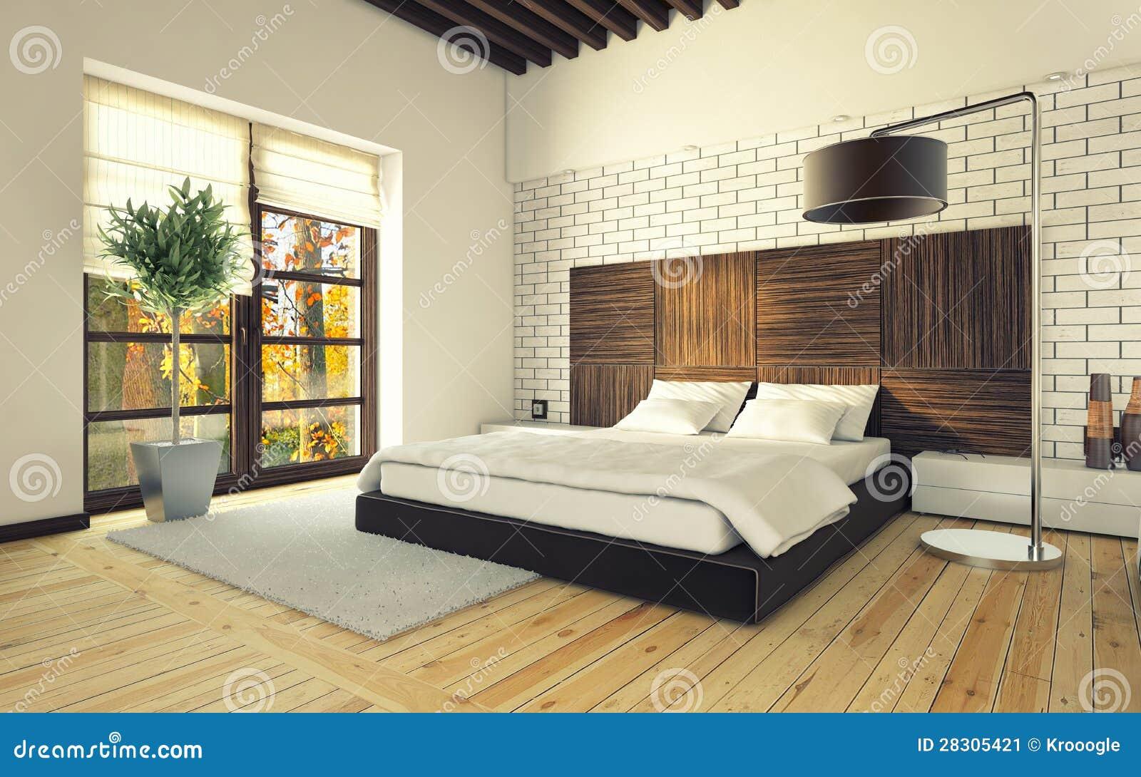 chambre coucher avec le mur de briques illustration. Black Bedroom Furniture Sets. Home Design Ideas