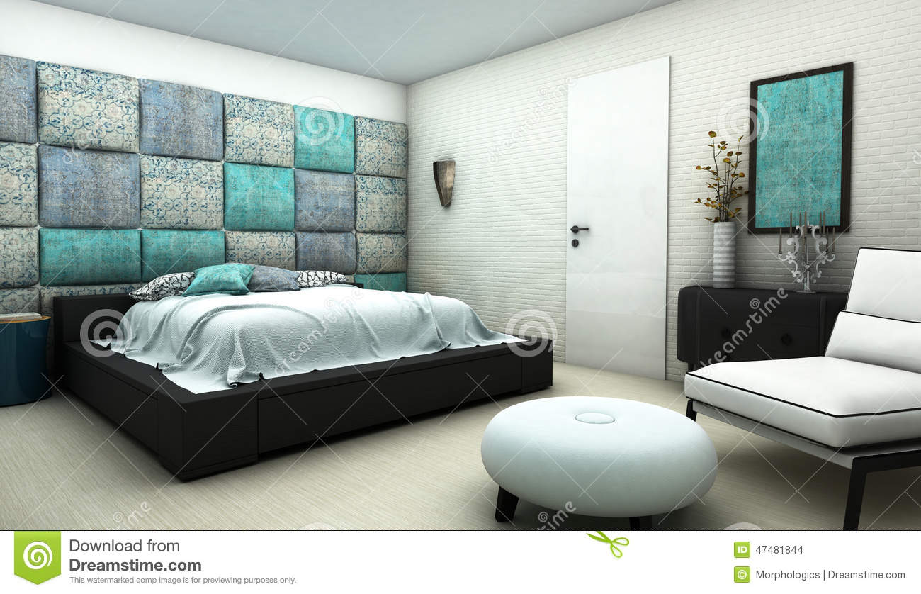 chambre coucher avec le mur oriental de textile de mod le illustration stock illustration du. Black Bedroom Furniture Sets. Home Design Ideas