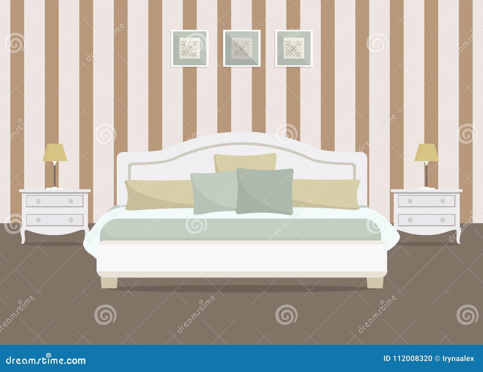 Chambre à Coucher Avec Le Papier Peint Rayé