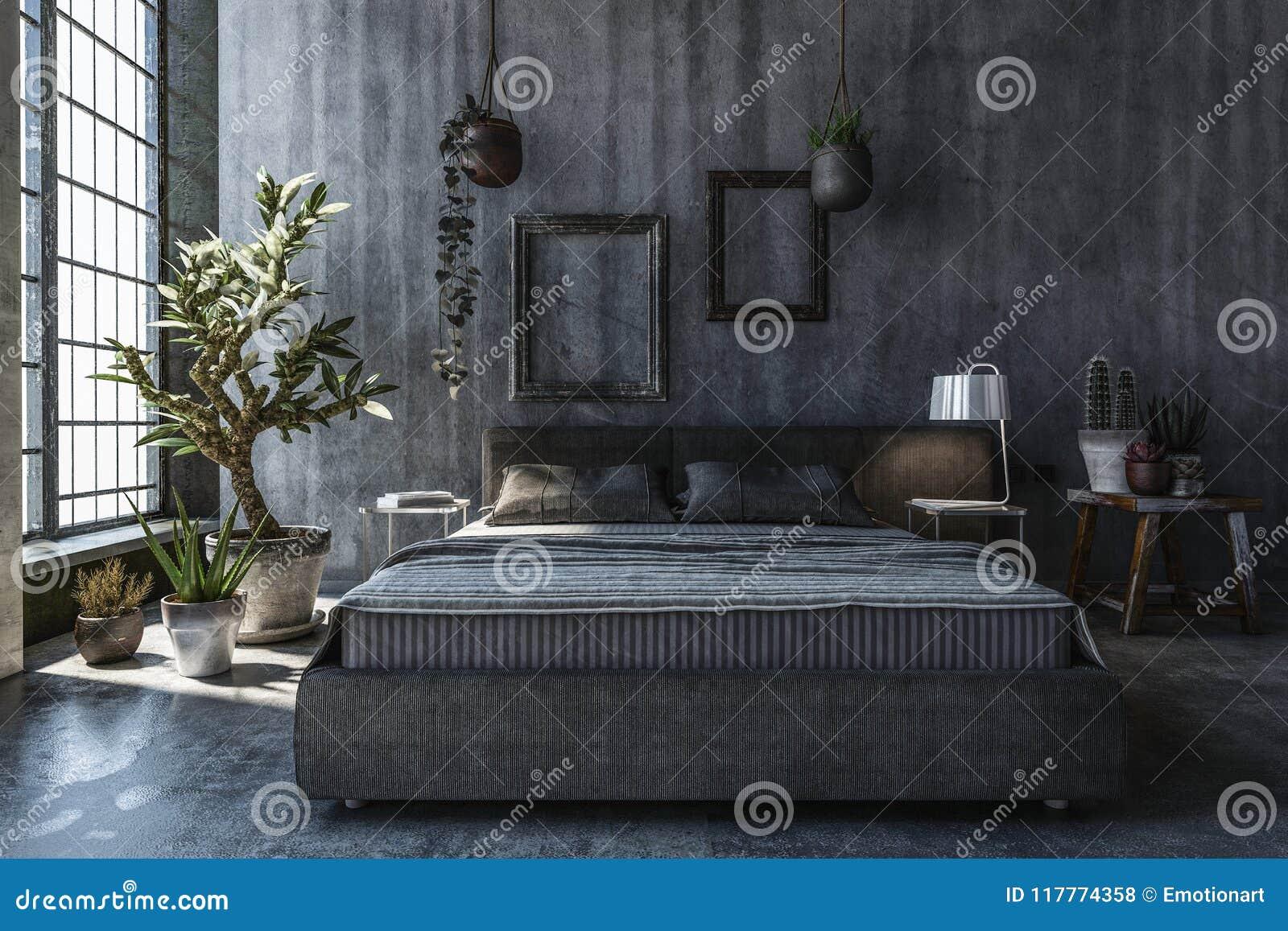 Chambre à Coucher Avec Les Murs Gris Illustration Stock ...