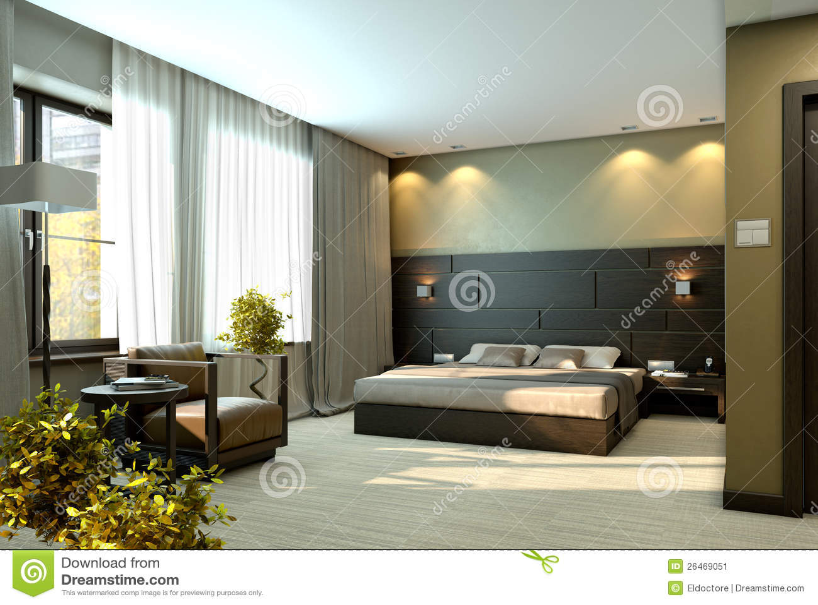 Chambre à Coucher Beige De Luxe Moderne Image stock - Image: 26469051