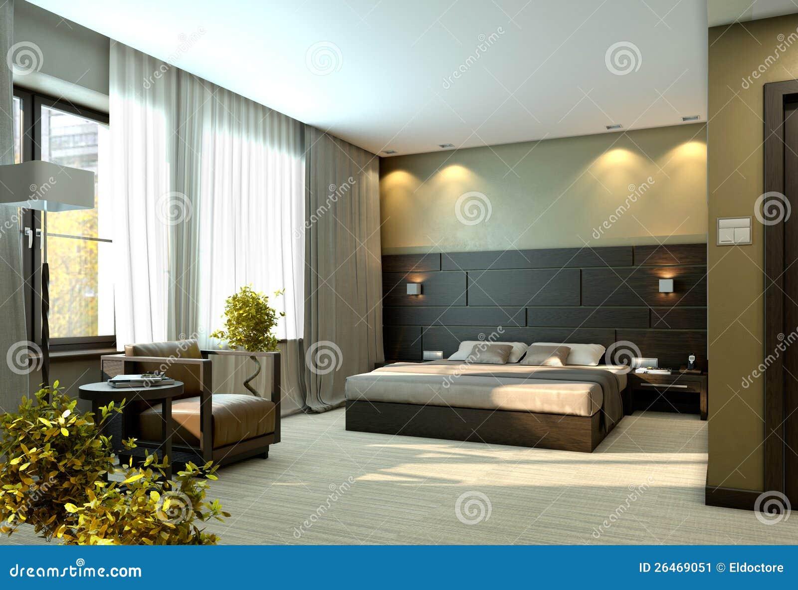 Chambre Coucher Beige De Luxe Moderne Image Stock