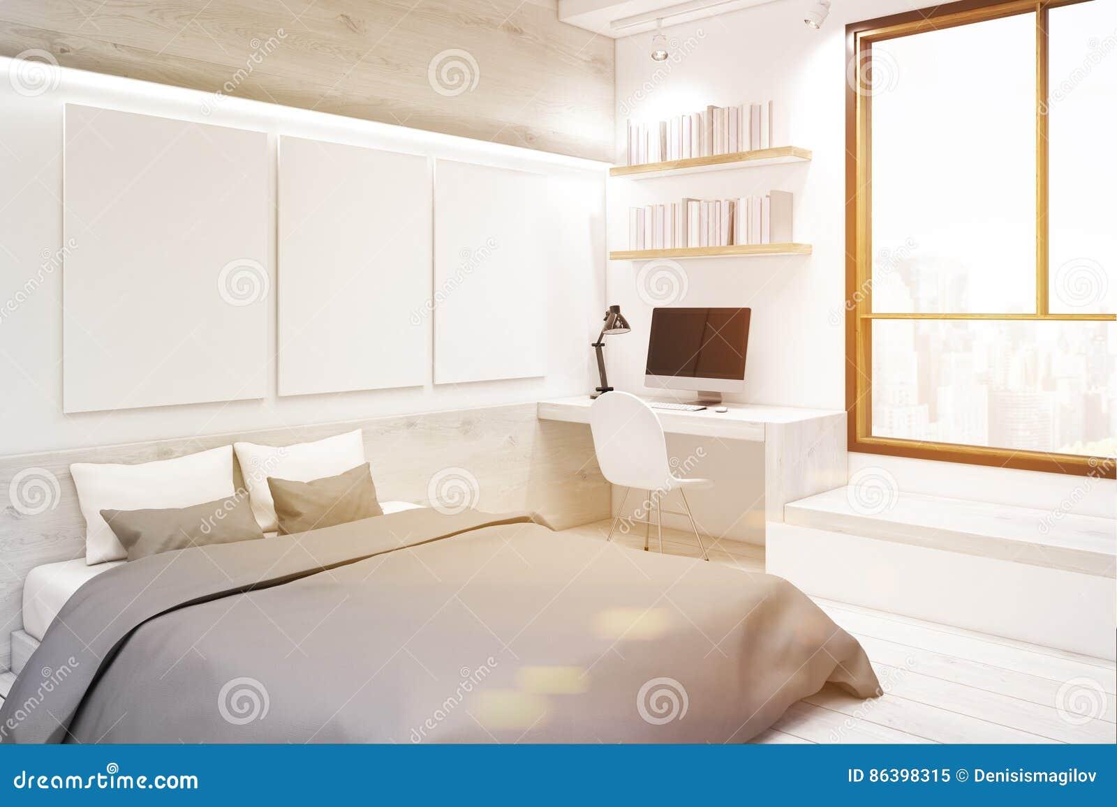 Chambre à Coucher Blanche Avec La Galerie De Peinture, Coin ...