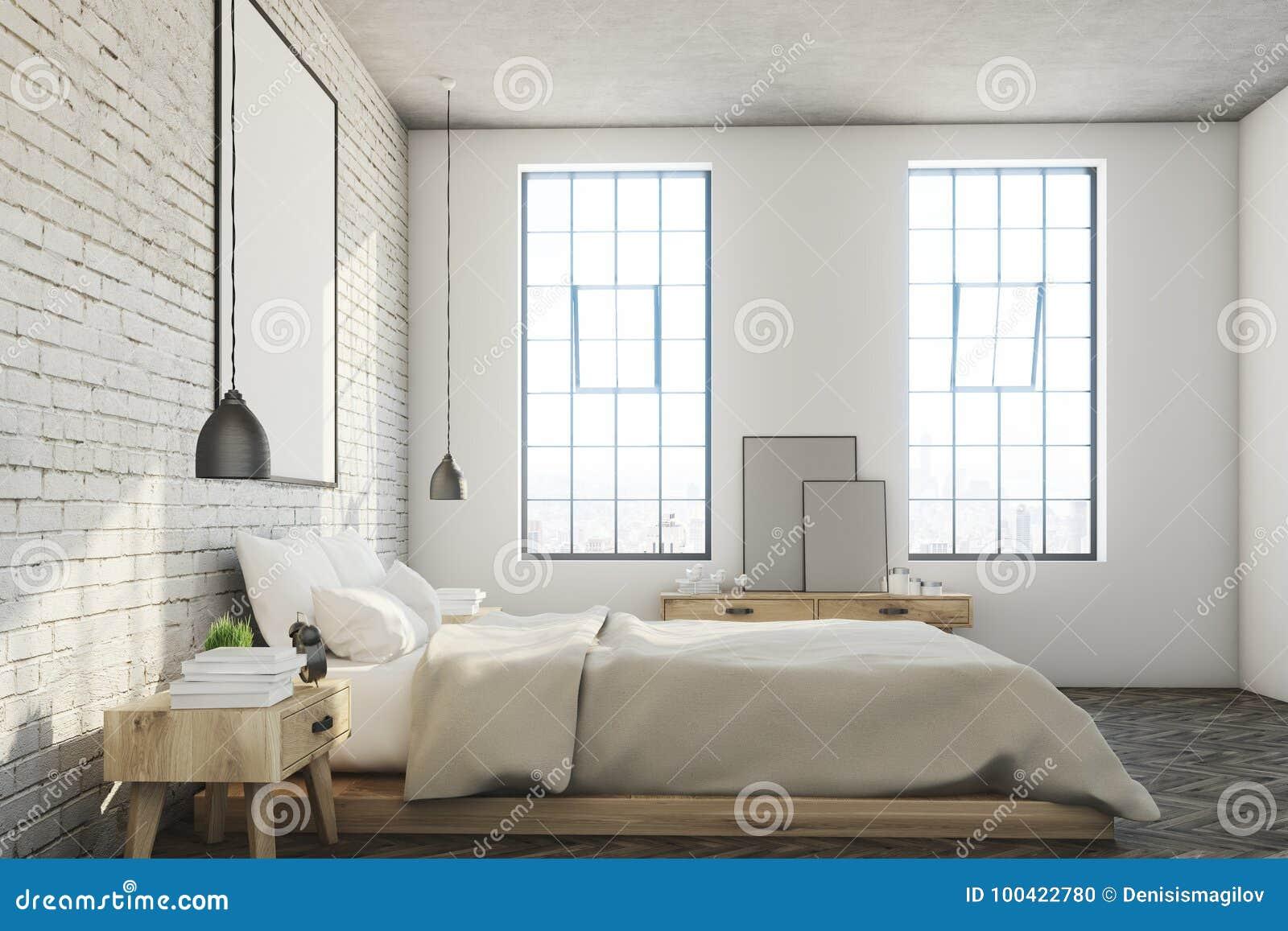 Chambre A Coucher Blanche De Brique Affiche Cote Illustration