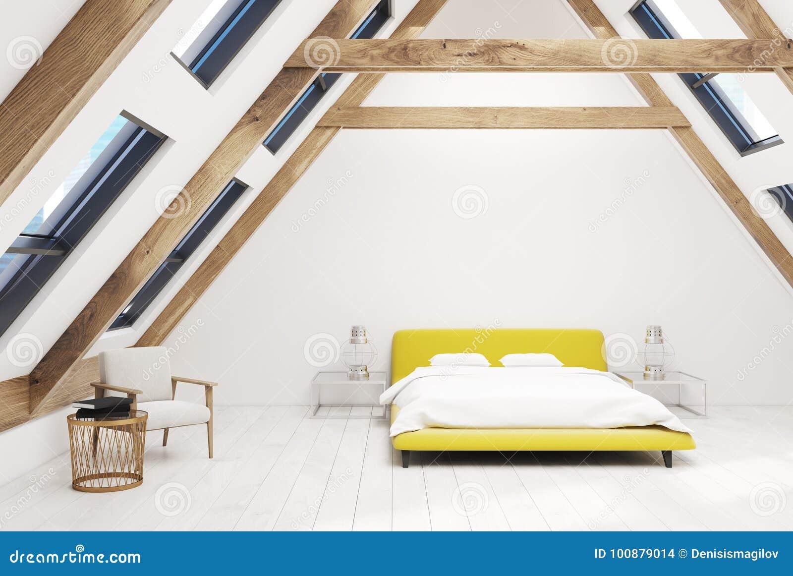 Chambre à Coucher Blanche De Grenier Intérieure, Lit Jaune ...