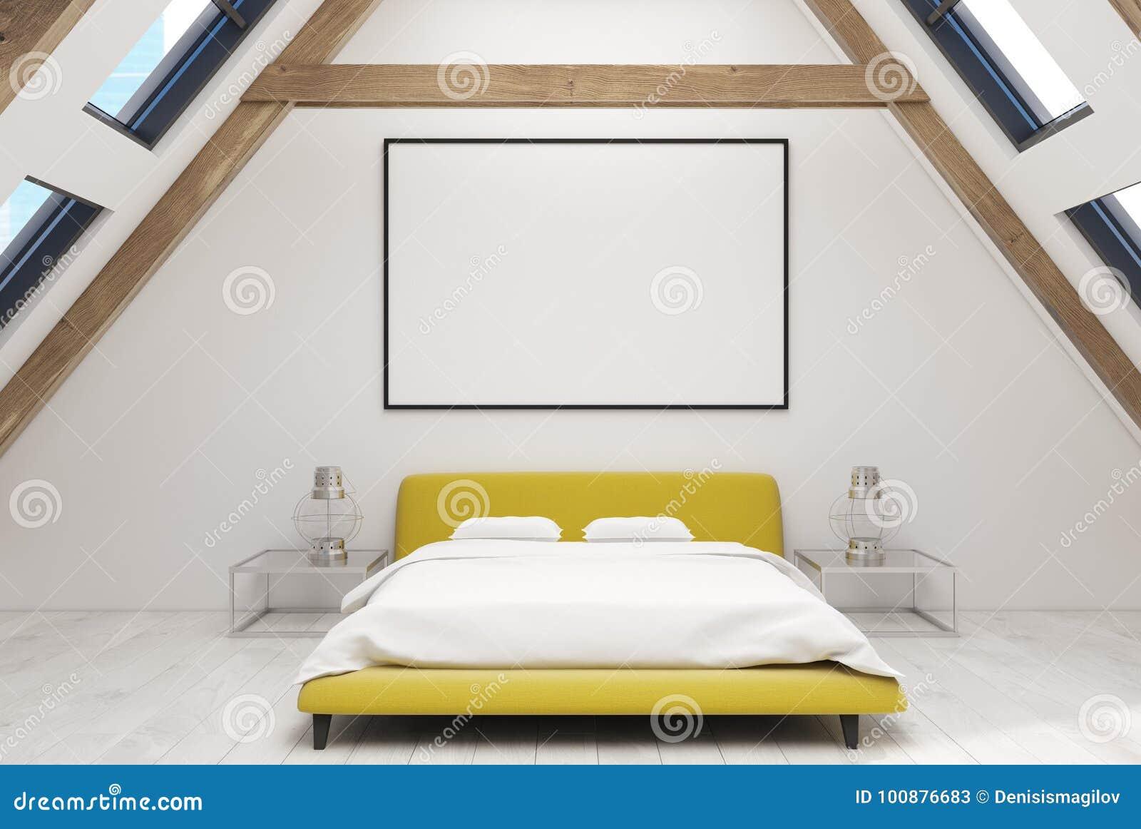 Chambre à Coucher Blanche De Grenier Intérieure, Lit Jaune, Affiche ...