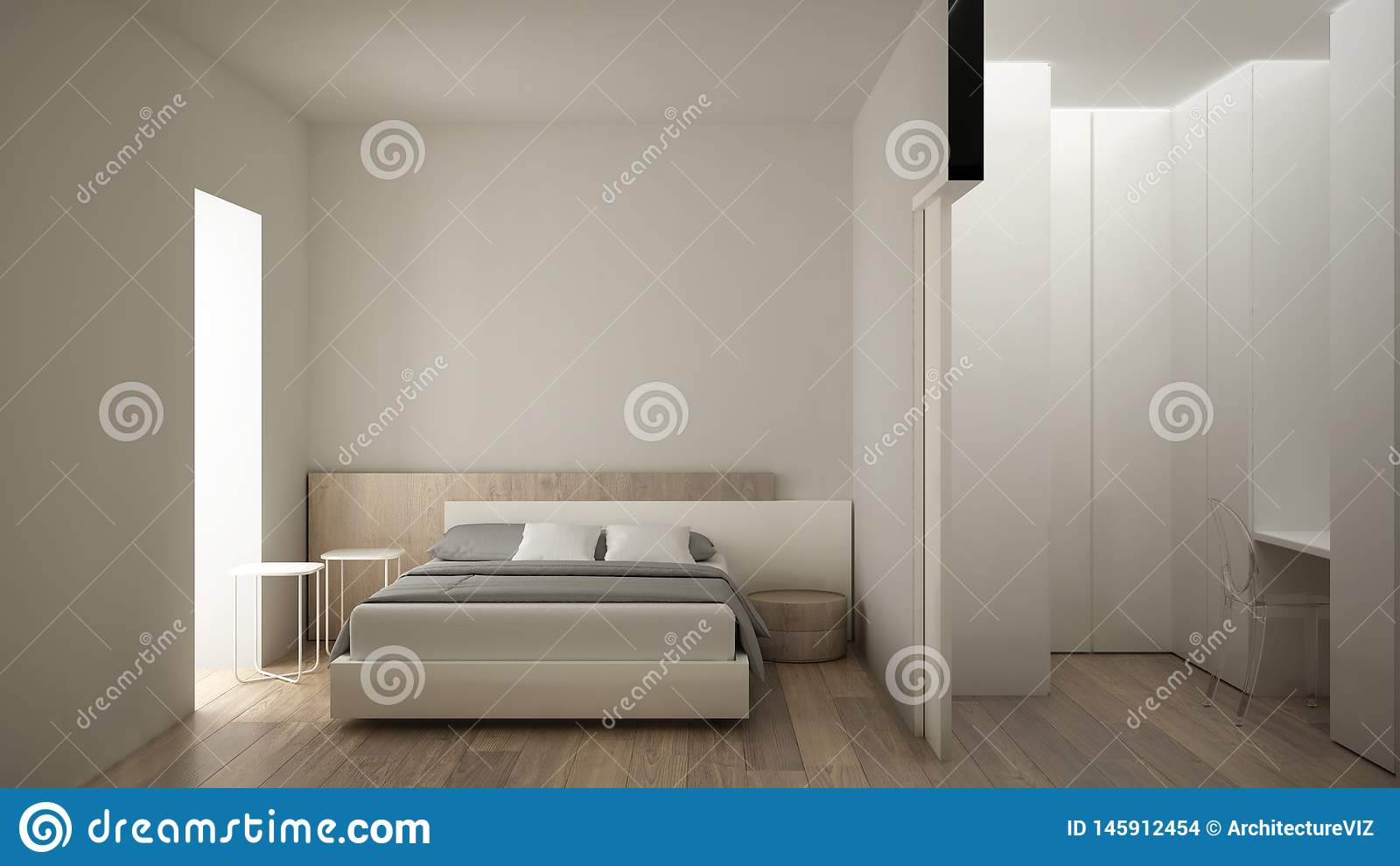 Chambre à Coucher Blanche Et En Bois Moderne Minimaliste ...