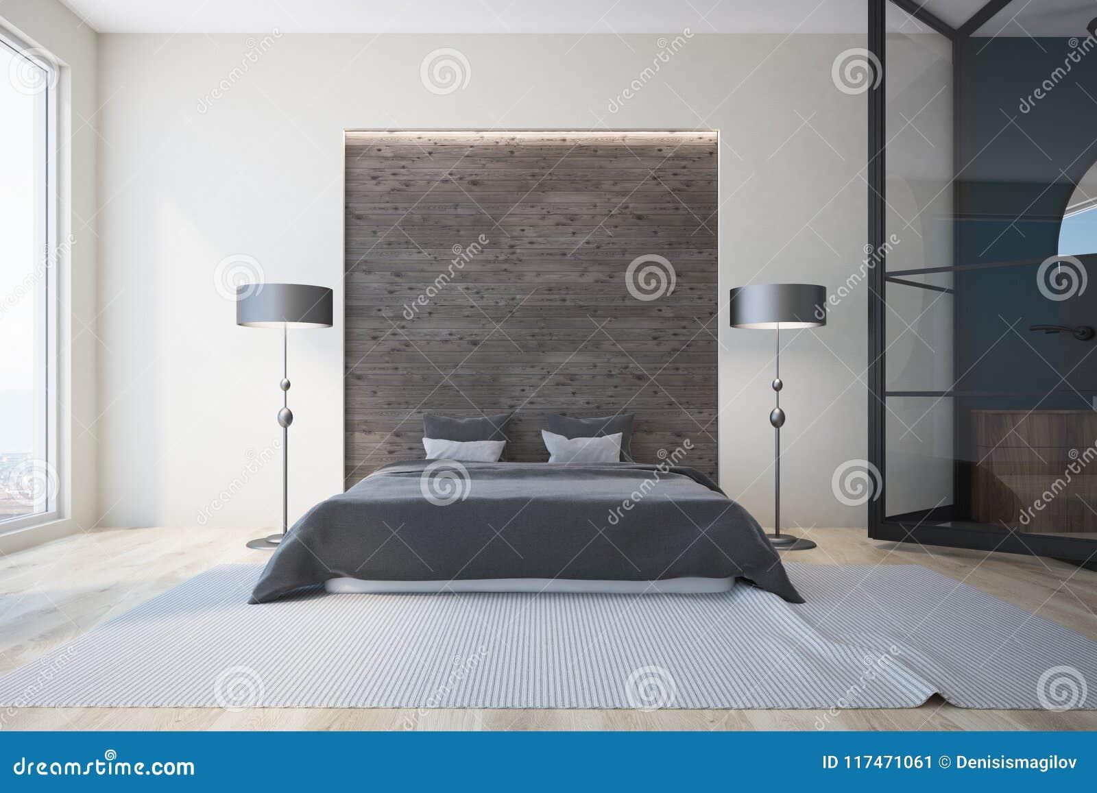 Chambre à Coucher Blanche Et Grise, Cheminée Illustration Stock ...