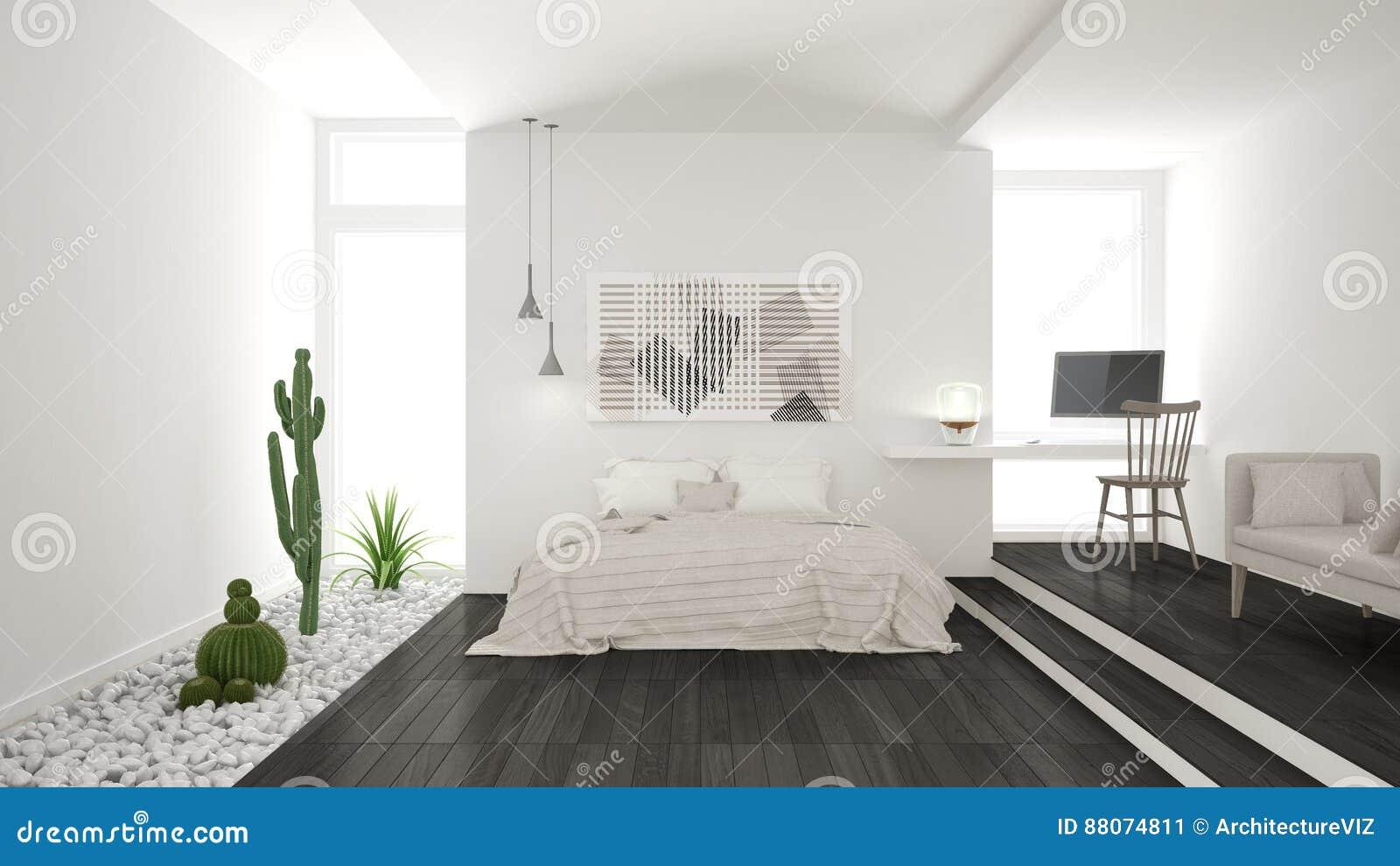 Chambre à Coucher Blanche Et Grise Minimaliste Scandinave Avec GA ...
