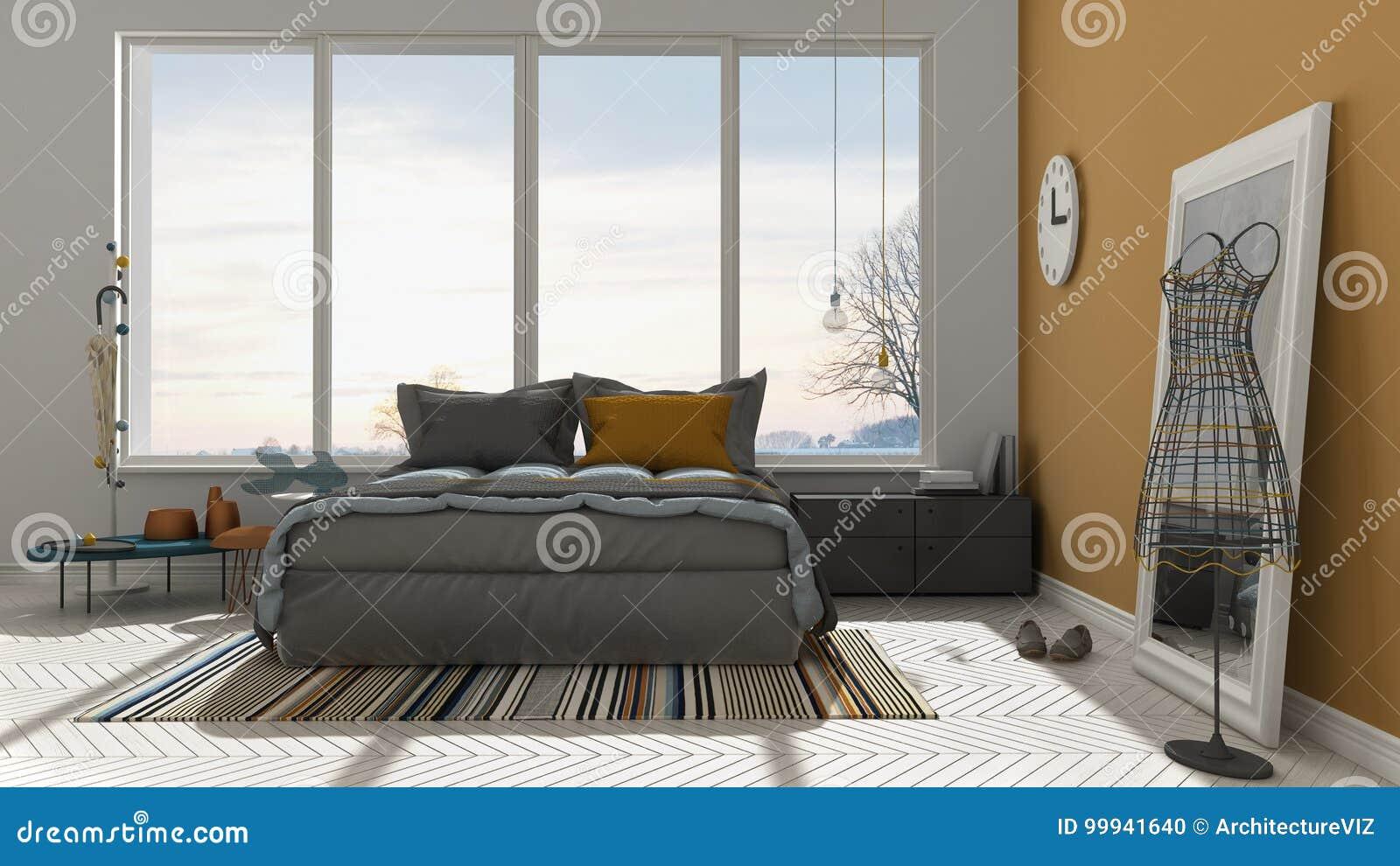 Chambre à Coucher Blanche Et Orange Moderne Colorée Avec La Grande Fenêtre  Panoramique, Coucher Du Soleil, Lever De Soleil, Conception Intérieure ...