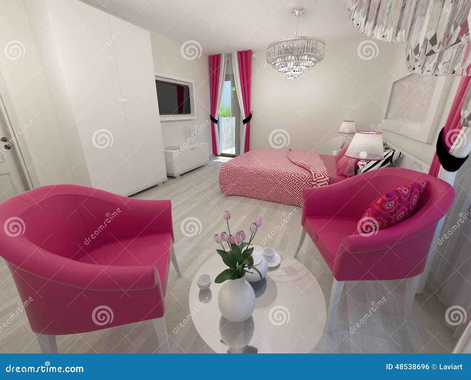 Chambre à Coucher Blanche Et Rose Moderne Illustration Stock ...