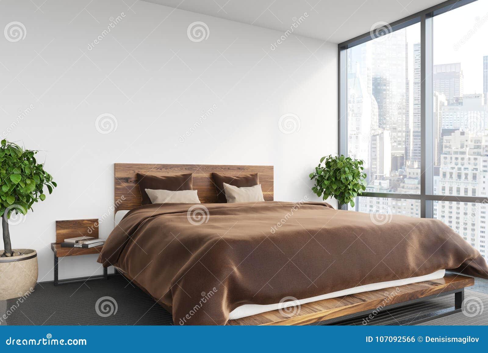 Chambre à Coucher Blanche, Lit Brun Illustration Stock ...