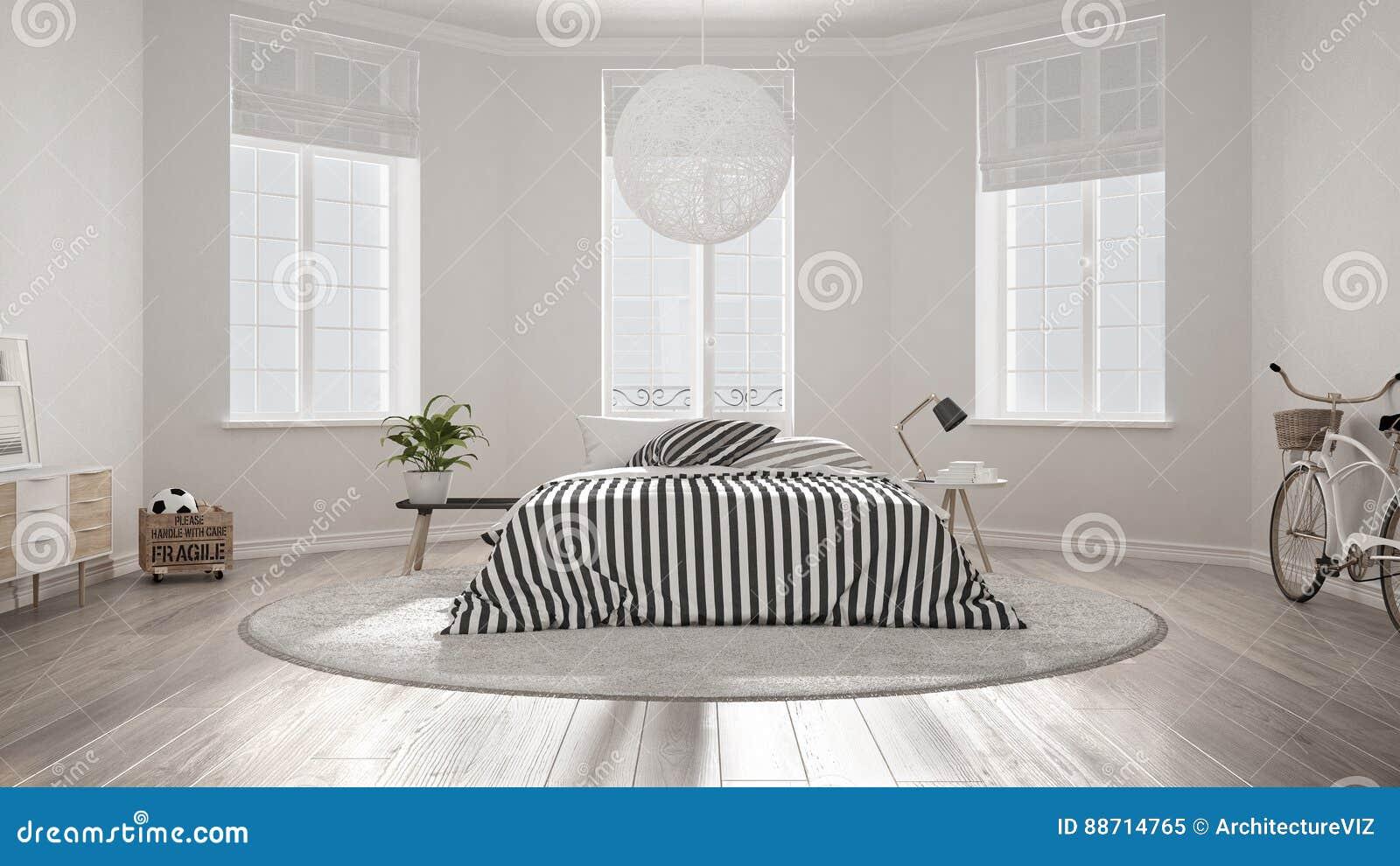 Chambre à Coucher Blanche Nordique Minimaliste, Conception Intérieure  Moderne Classique