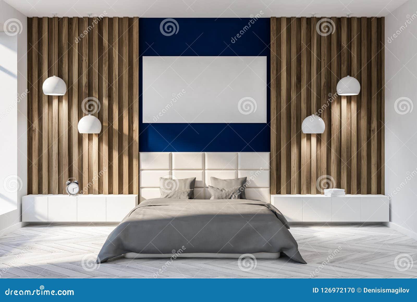 Chambre à Coucher Bleu Foncé Et En Bois Lit Principal Et