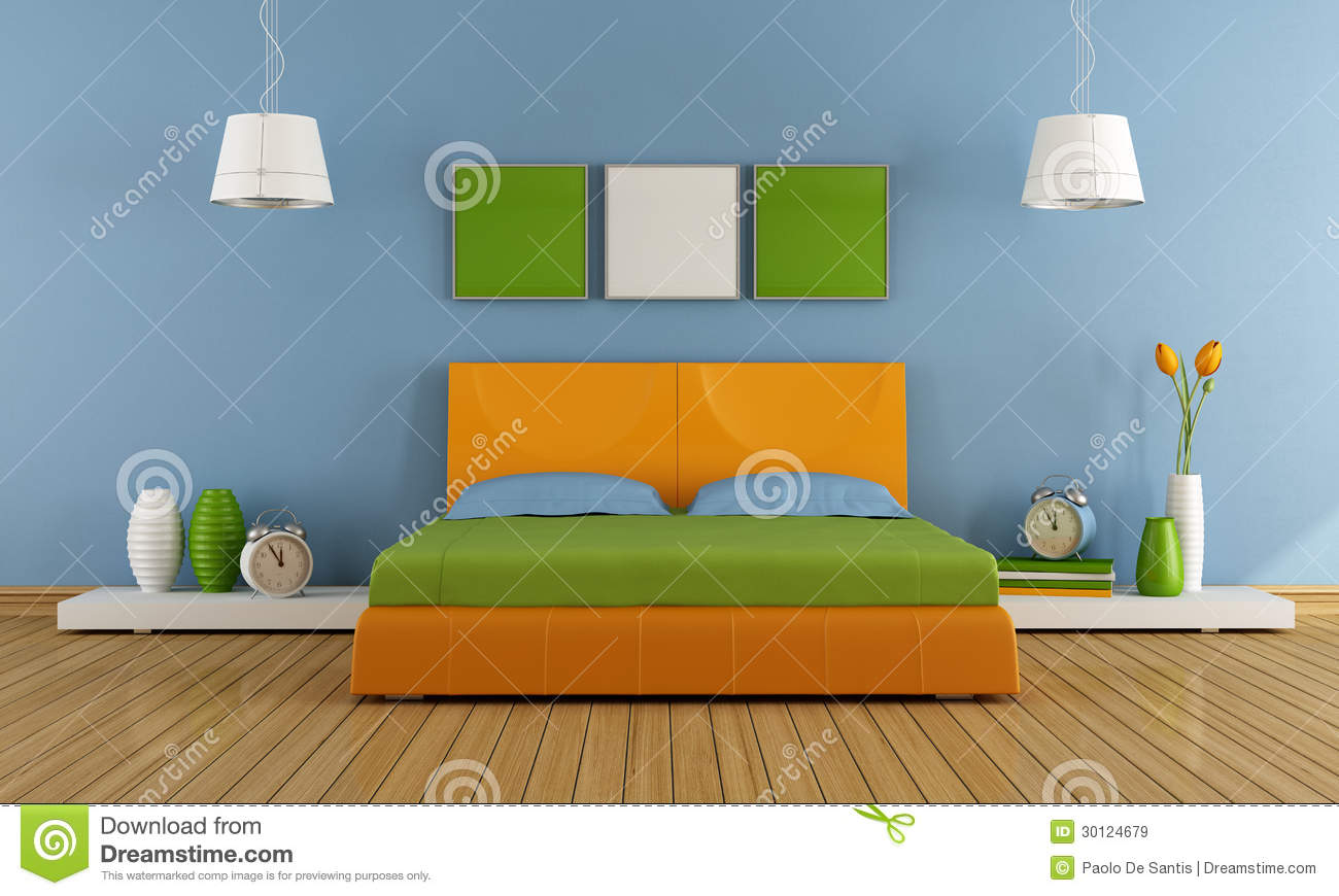 Chambre coucher contemporaine color e images libres de for Chambre a coucher contemporaine