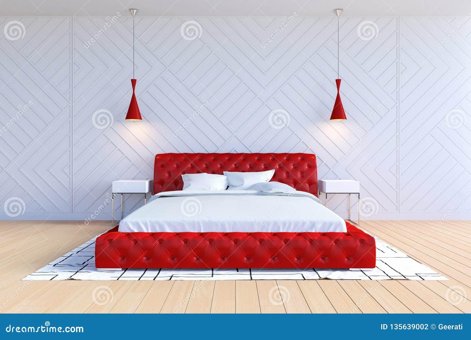 Chambre à Coucher Contemporaine Moderne Intérieure Dans La Couleur Blanche  Et Rouge
