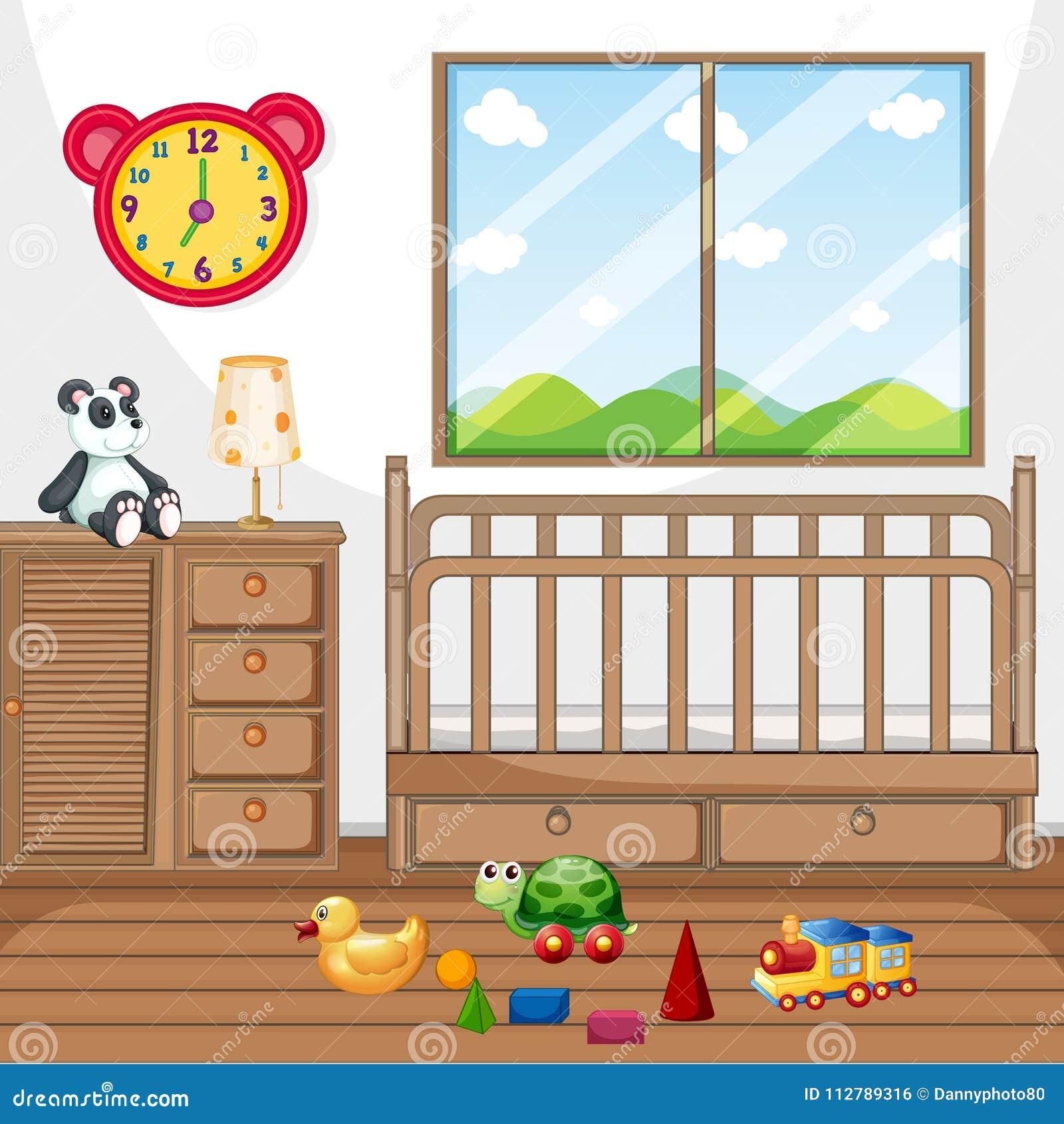 Chambre à Coucher D\'enfant Avec Les Meubles En Bois ...
