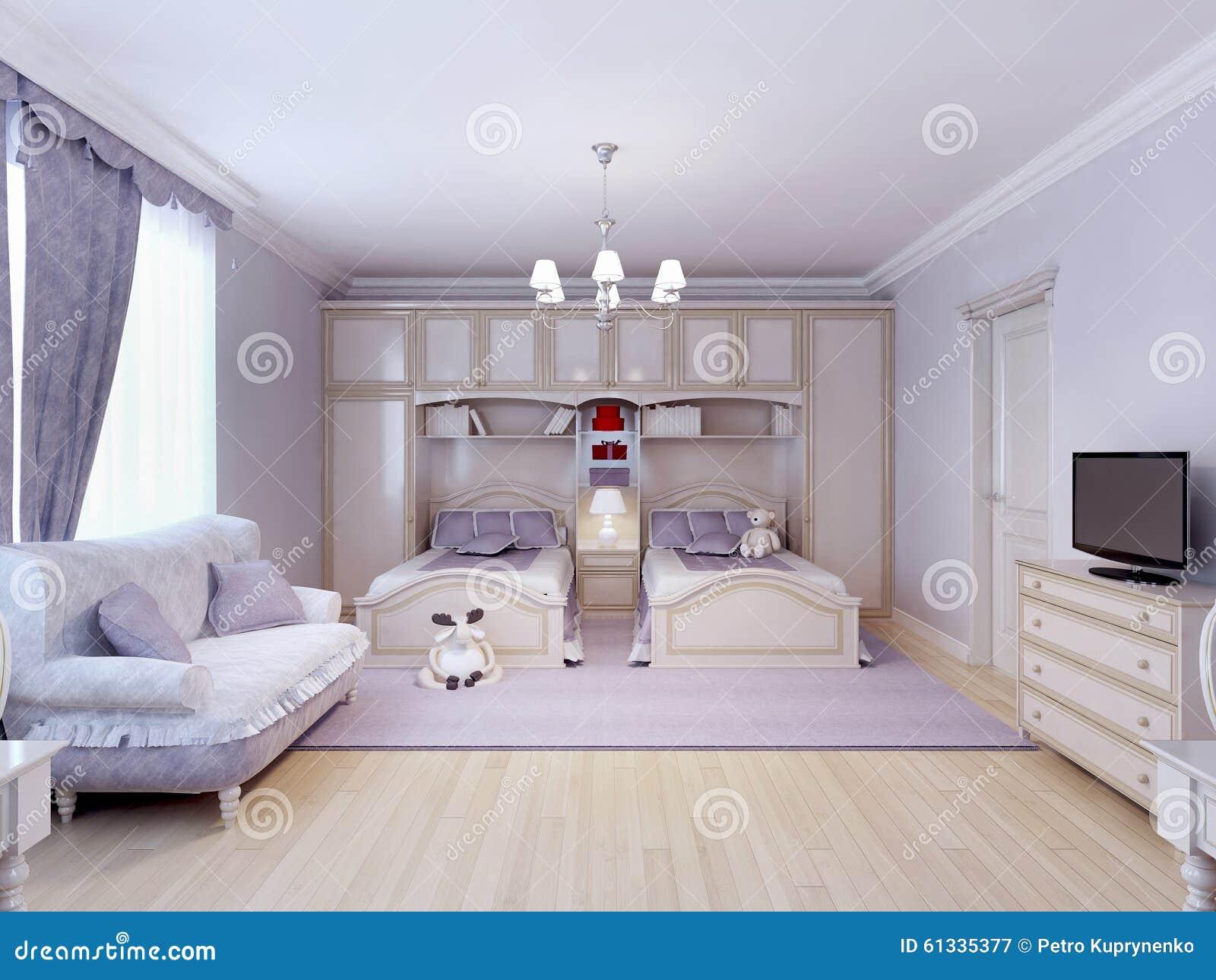 Chambre coucher d 39 enfant pour deux illustration stock for Chambre a coucher deux personnes