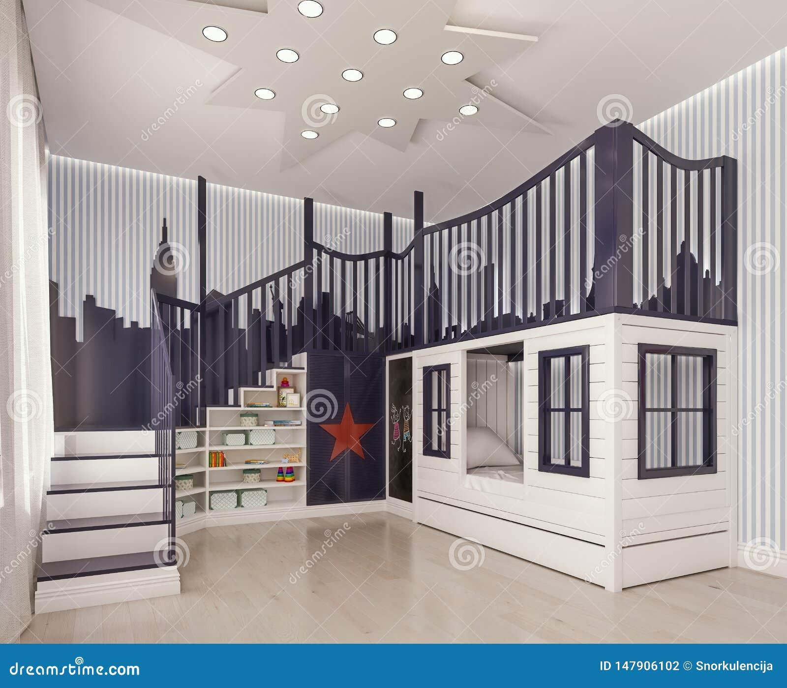 Décor Salle De Jeux chambre à coucher d'enfants de conception intérieure, pièce