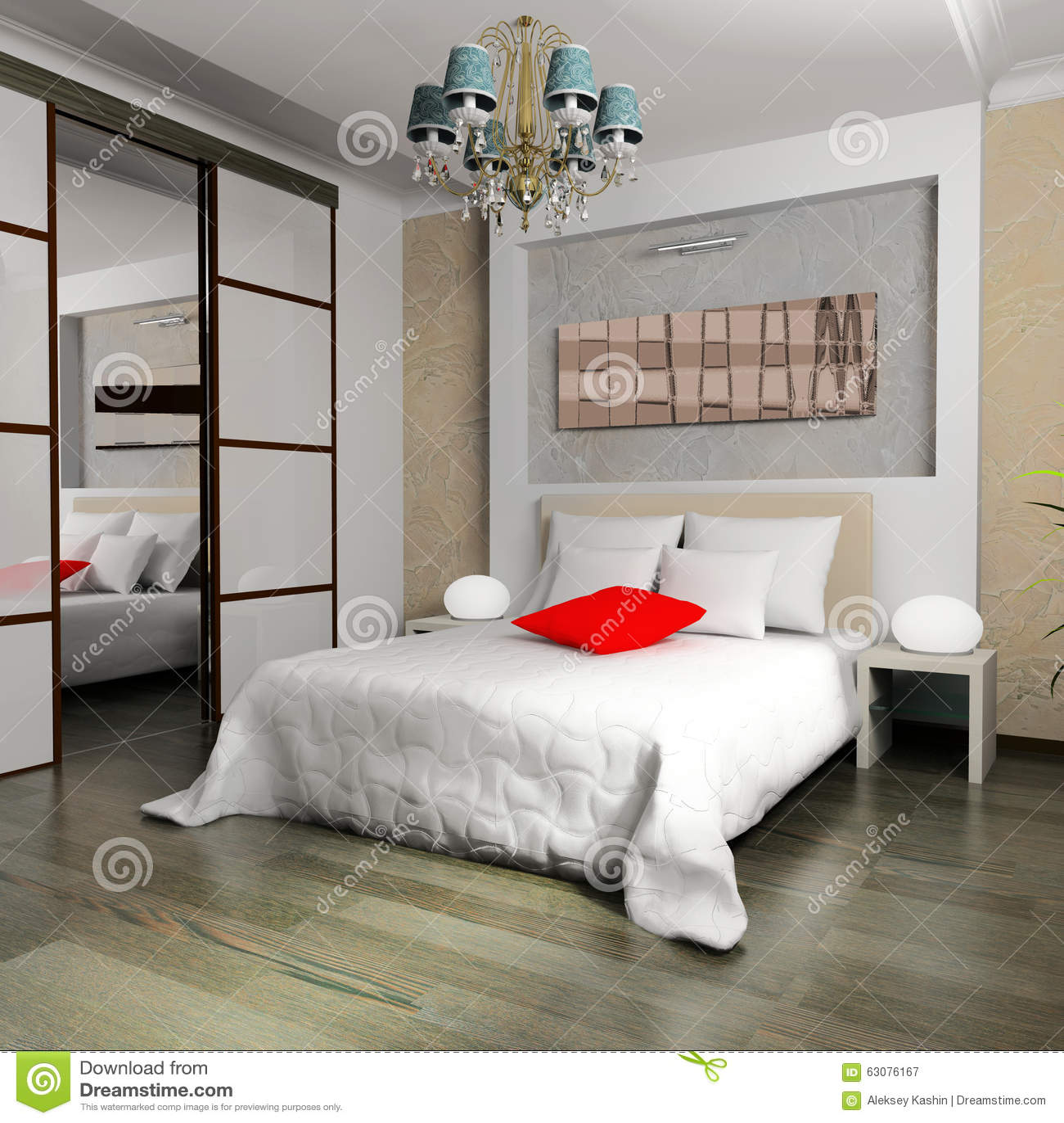 Download Chambre à Coucher Dans Le Style Contemporain Image stock - Image du couverture, indoors: 63076167