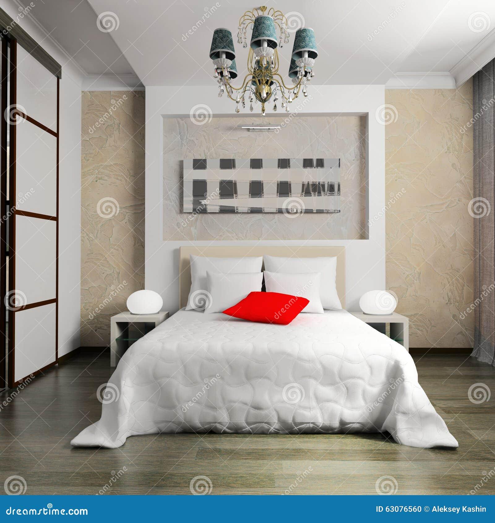 Download Chambre à Coucher Dans Le Style Contemporain Photo stock - Image du lampe, home: 63076560