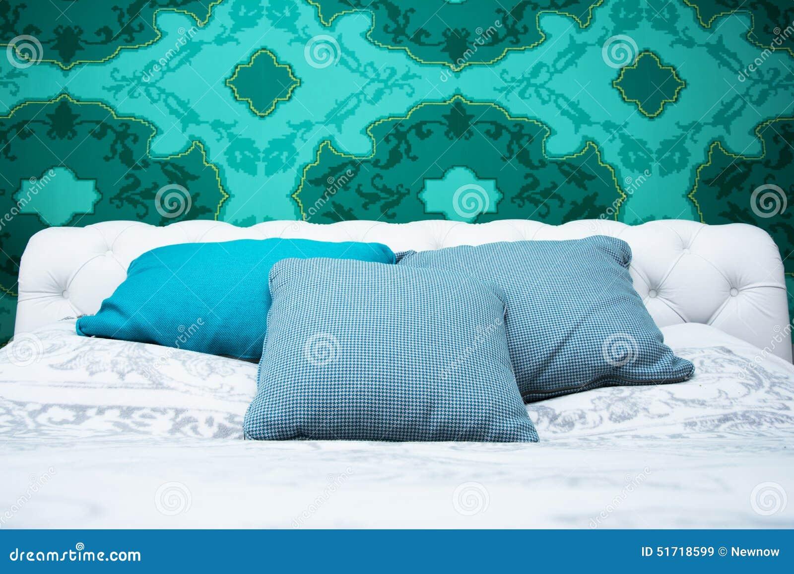 Chambre à Coucher De Bleu Et De Blanc De Turquoise