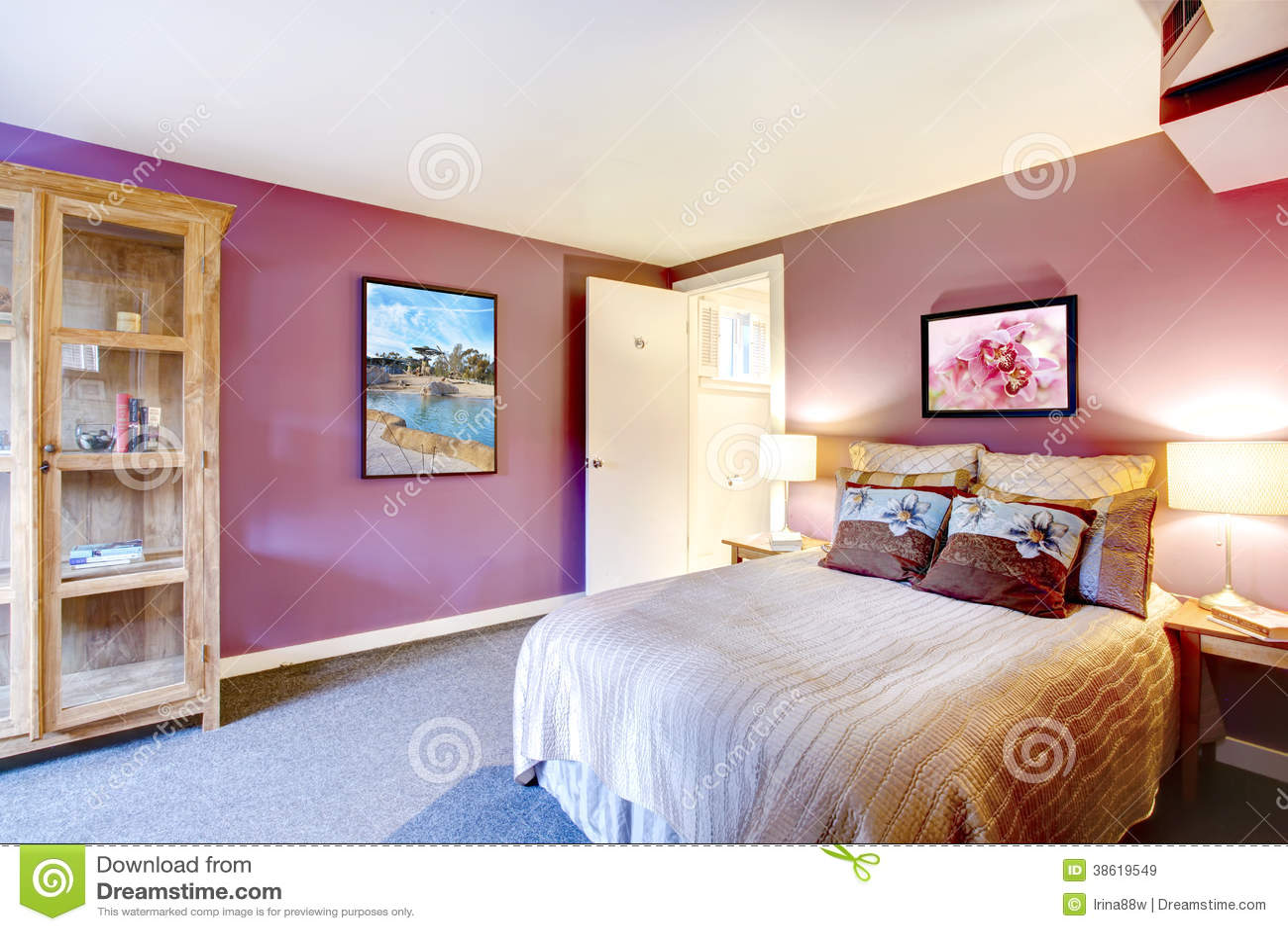Chambre à Coucher De Couleur De Contraste Belle Image stock - Image ...