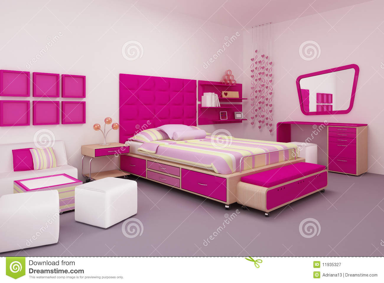 chambre coucher de fille illustration stock. Black Bedroom Furniture Sets. Home Design Ideas