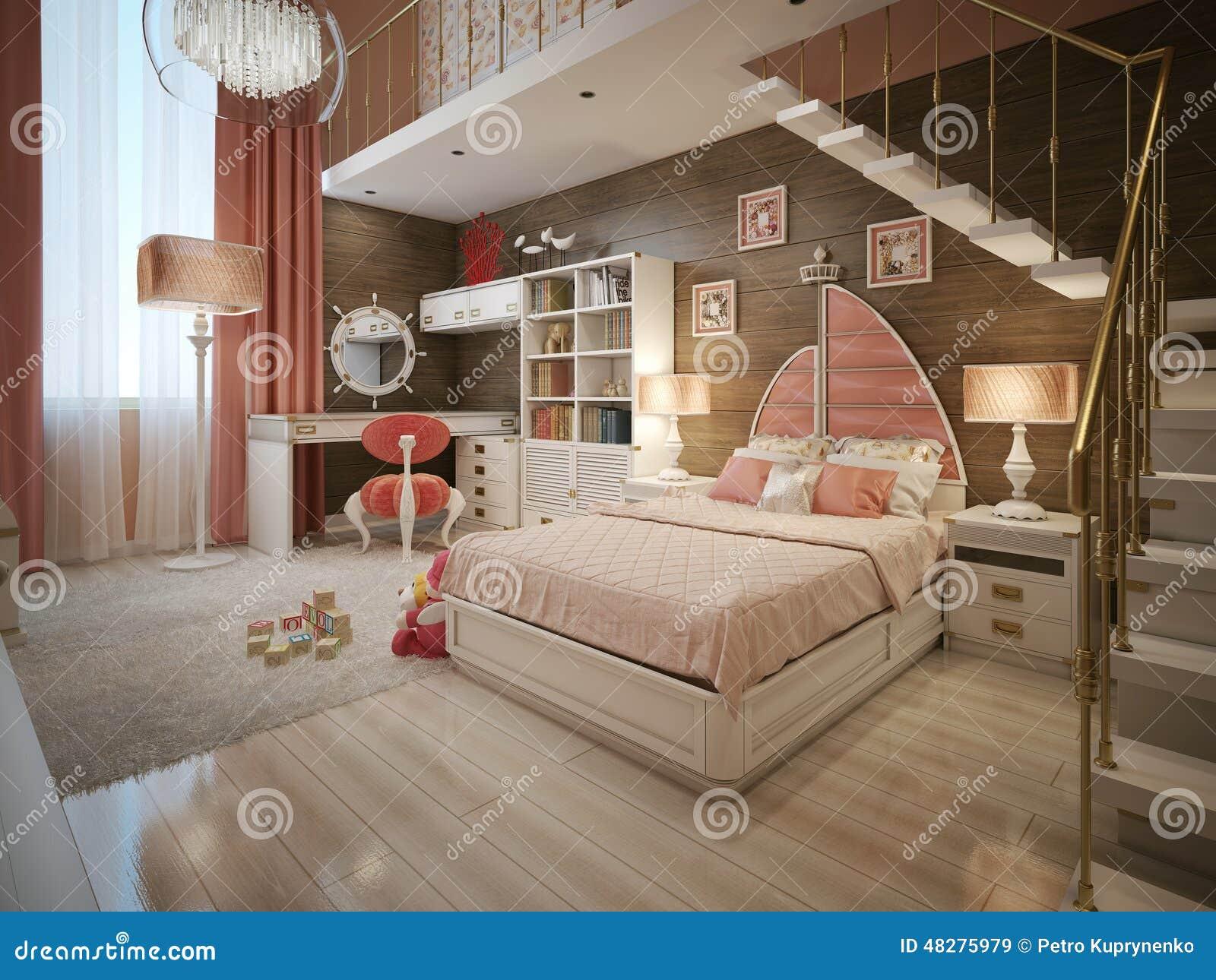 Chambre coucher de filles dans le style n oclassique illustration stock image 48275979 - Arredamento camera ragazza ...