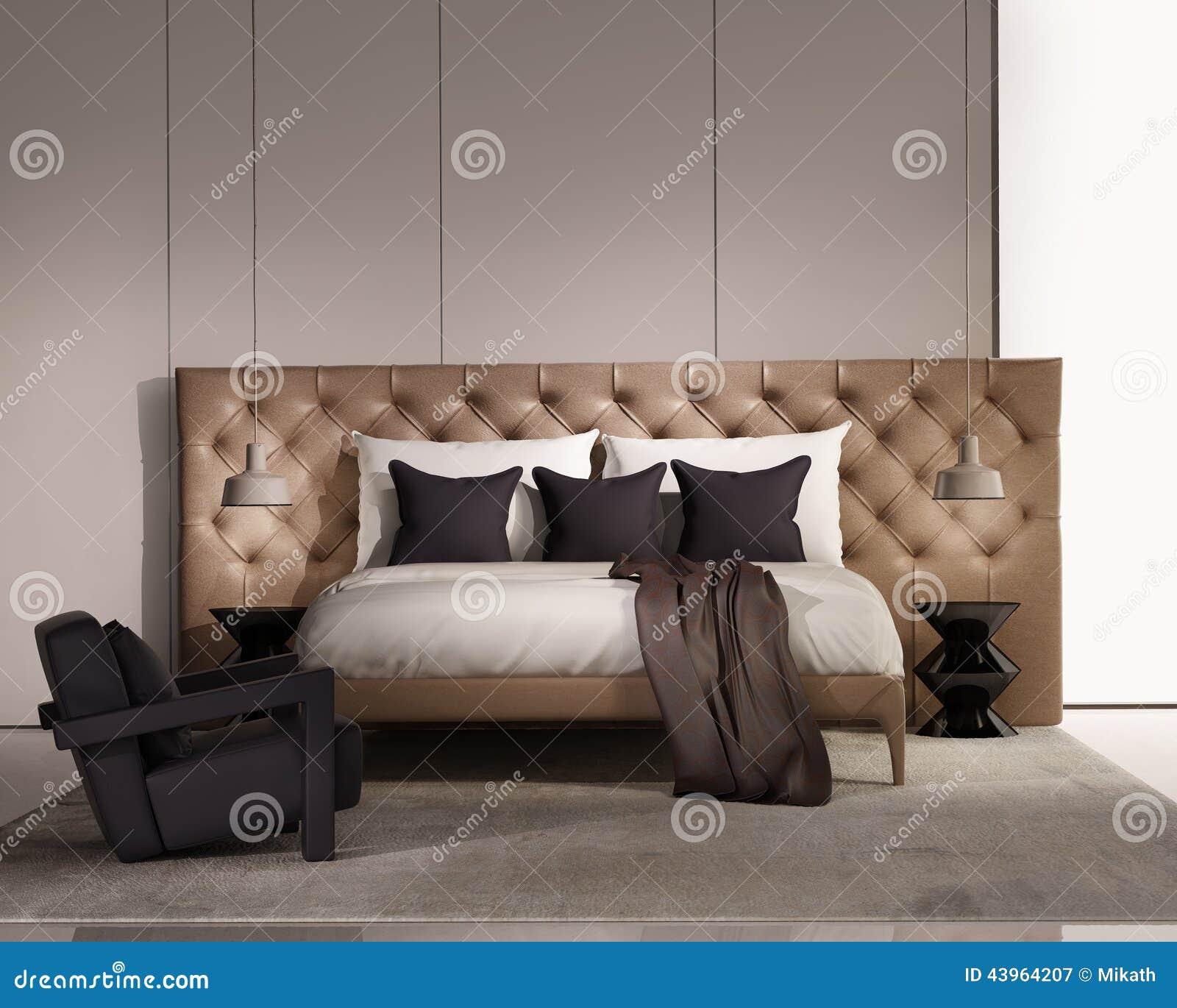 Chambre A Coucher De Luxe Elegante Contemporaine Avec Le Lit En Cuir