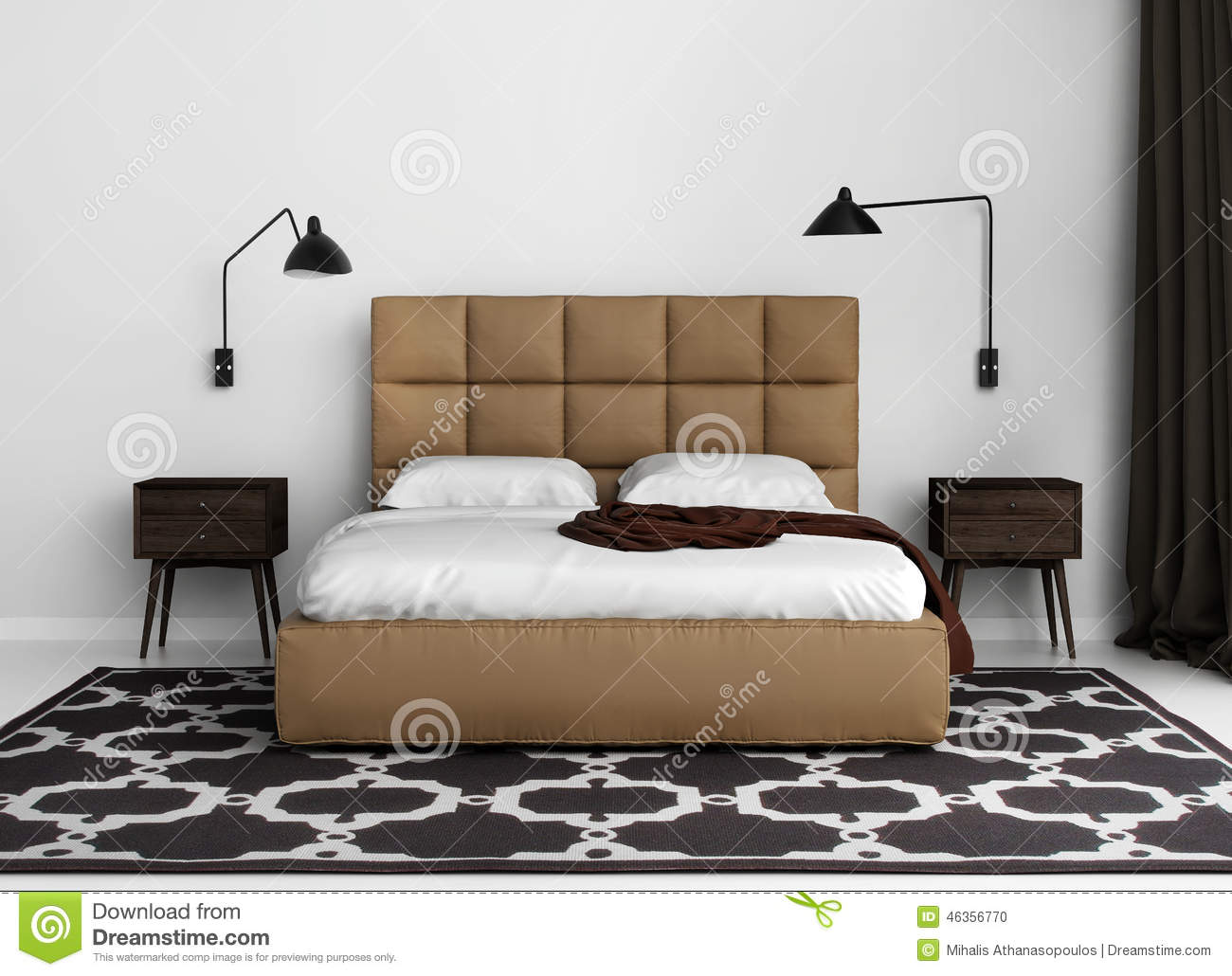 chambre coucher de luxe l gante contemporaine avec le lit en cuir illustration stock. Black Bedroom Furniture Sets. Home Design Ideas