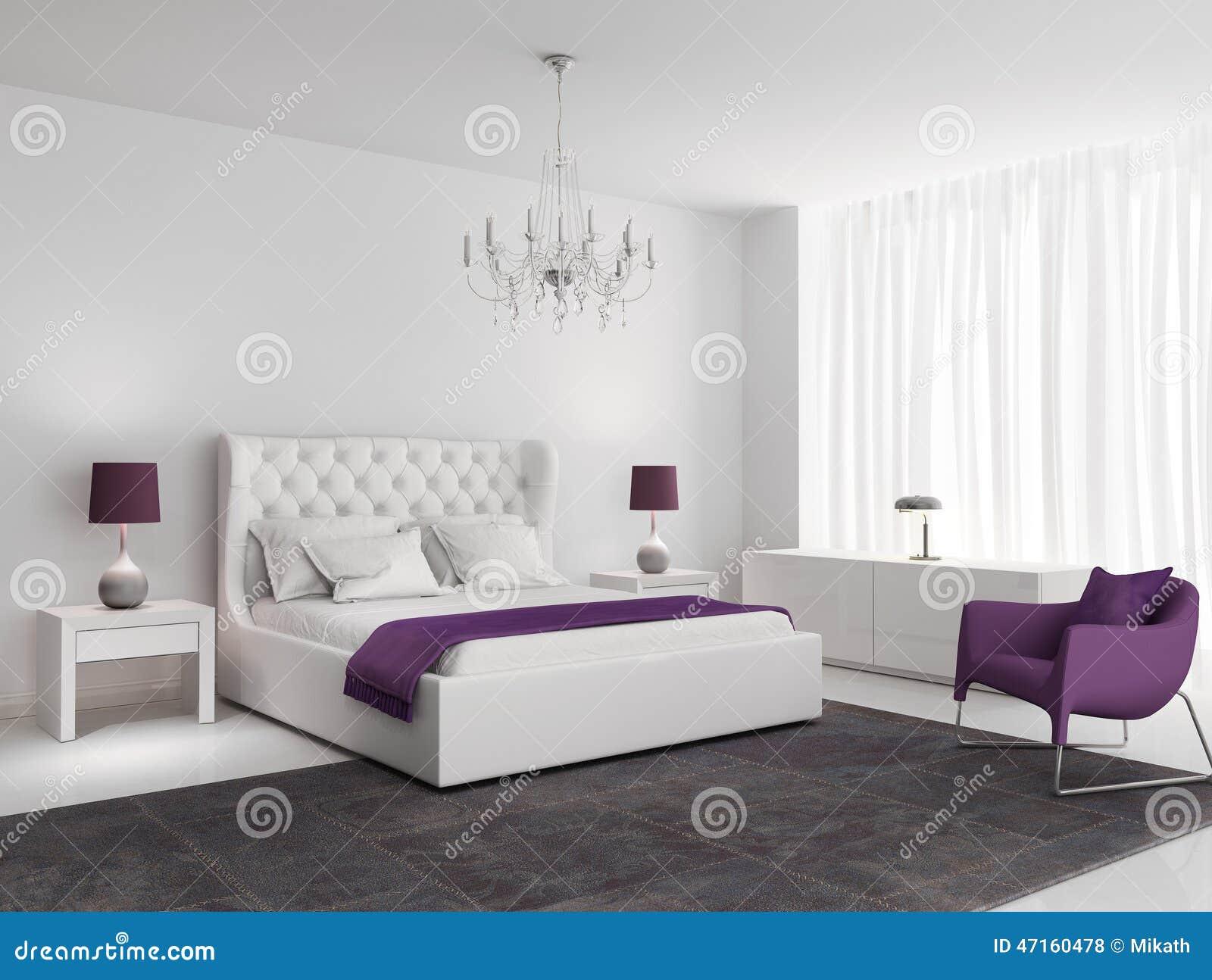 Chambre à Coucher De Luxe Blanche Avec Le Fauteuil Et La Couverture Pourpres