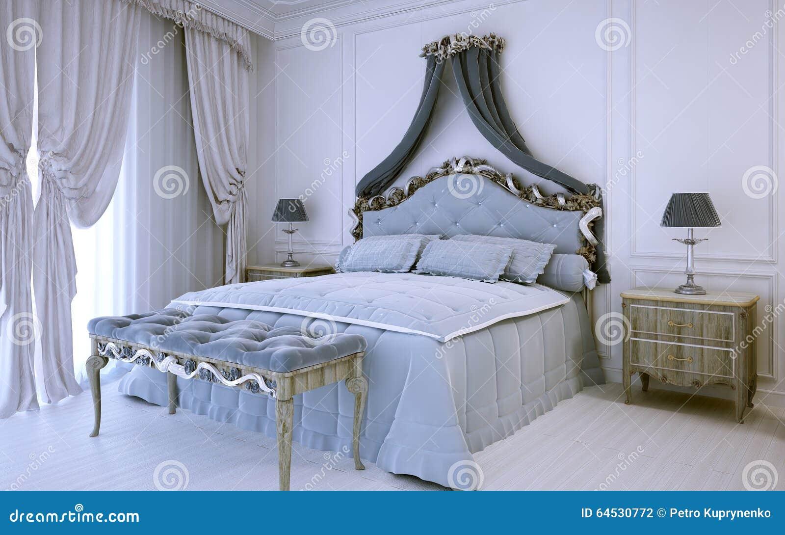 Chambre coucher de luxe blanche dans le style for Chambre a coucher de luxe