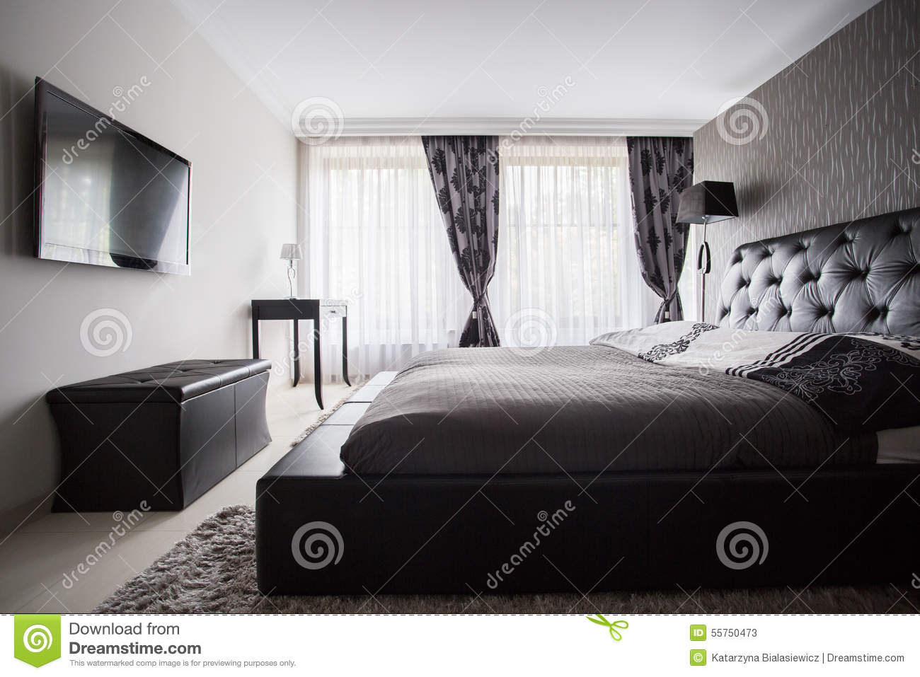 chambre coucher de luxe dans la couleur grise photo stock image 55750473. Black Bedroom Furniture Sets. Home Design Ideas
