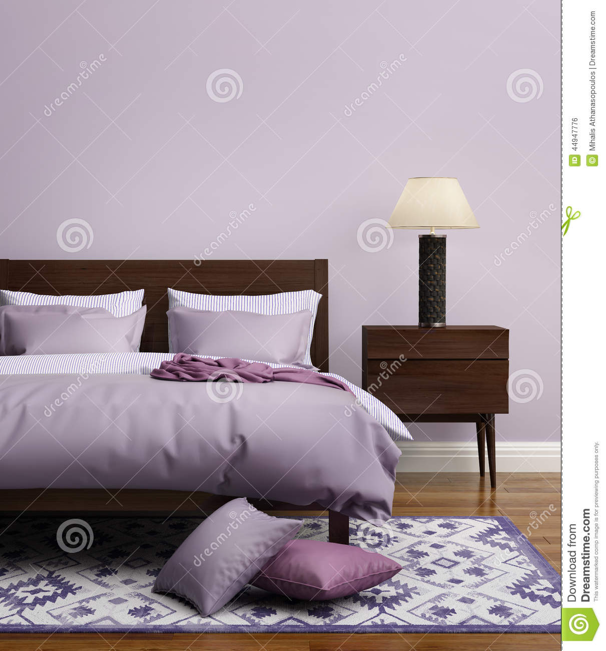 chambre coucher de luxe mauve clair l gante contemporaine photo stock image 44947776. Black Bedroom Furniture Sets. Home Design Ideas