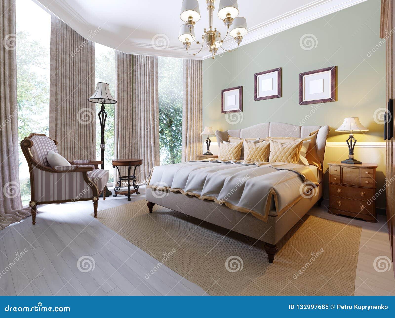 Chambre à Coucher De Style Anglais Avec Un Grand Lit Mou De Tissu ...