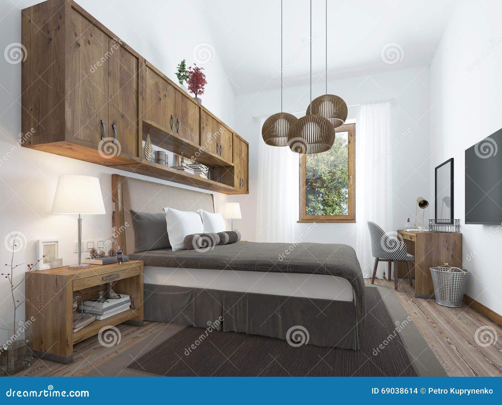 Chambre coucher de style du grenier avec les meubles en bois et les murs blancs illustration for Chambre a coucher style