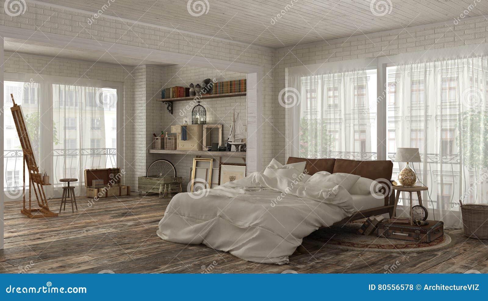 Chambre à Coucher De Vintage Dans Le Style De Bohème Illustration ...