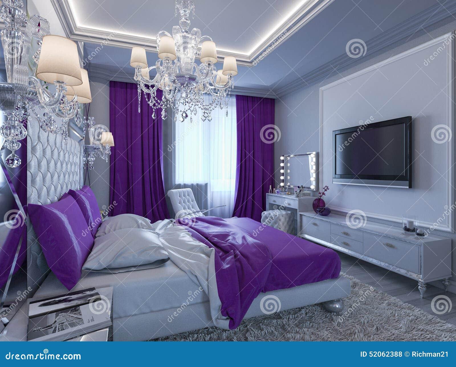 Chambre à Coucher Du Rendu 3d Dans Des Tons Gris Et Blancs Avec Des ...