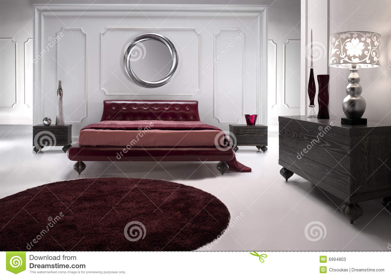 chambre coucher en cuir rouge luxueuse image stock image du inside d coratif 6994803. Black Bedroom Furniture Sets. Home Design Ideas